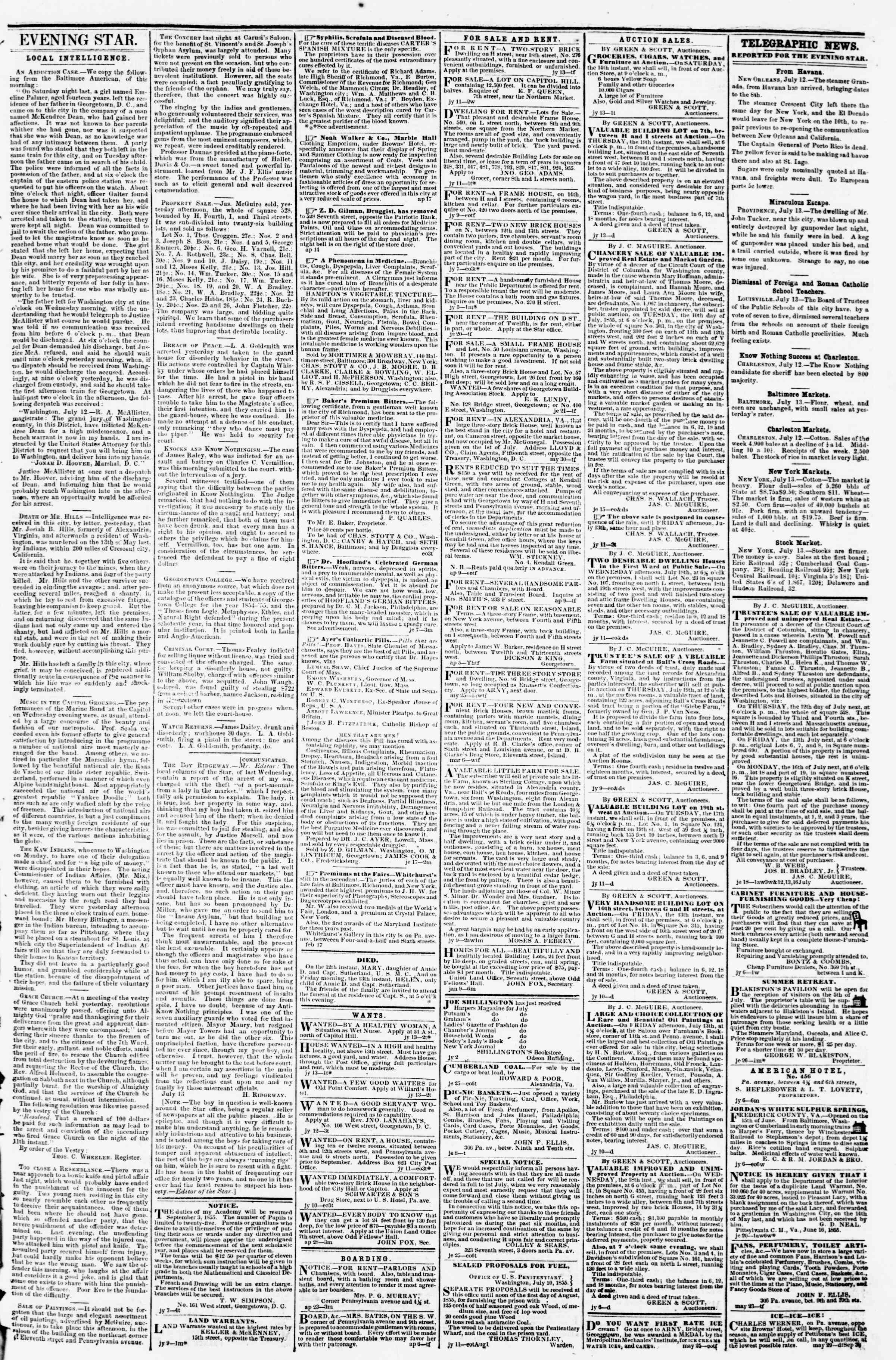 Newspaper of Evening Star dated July 13, 1855 Page 3