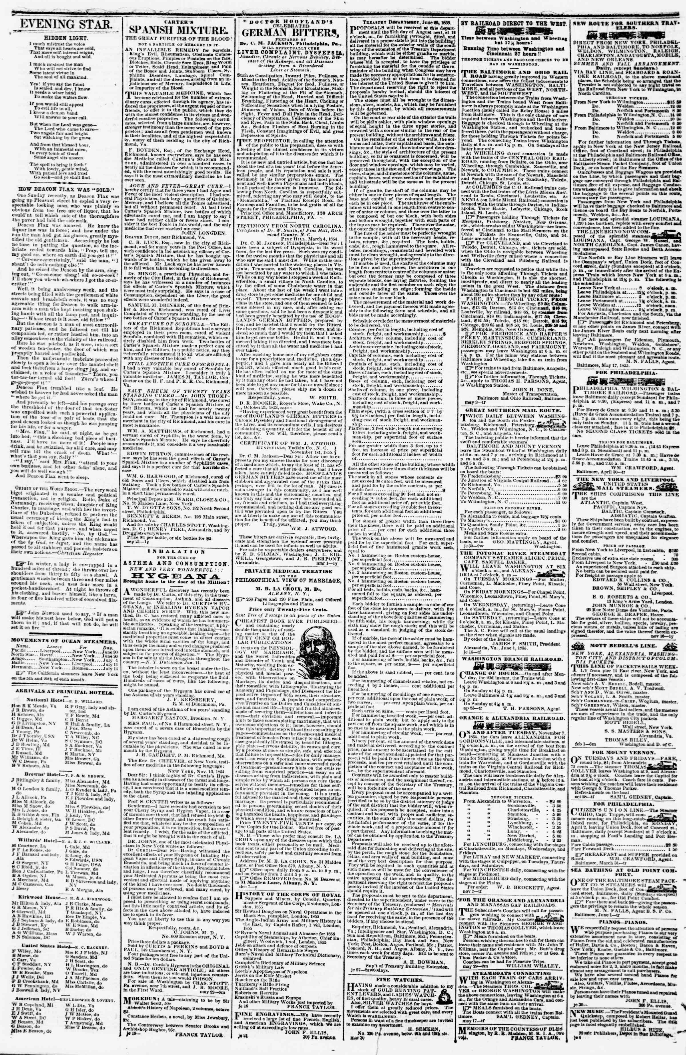 Newspaper of Evening Star dated July 13, 1855 Page 4