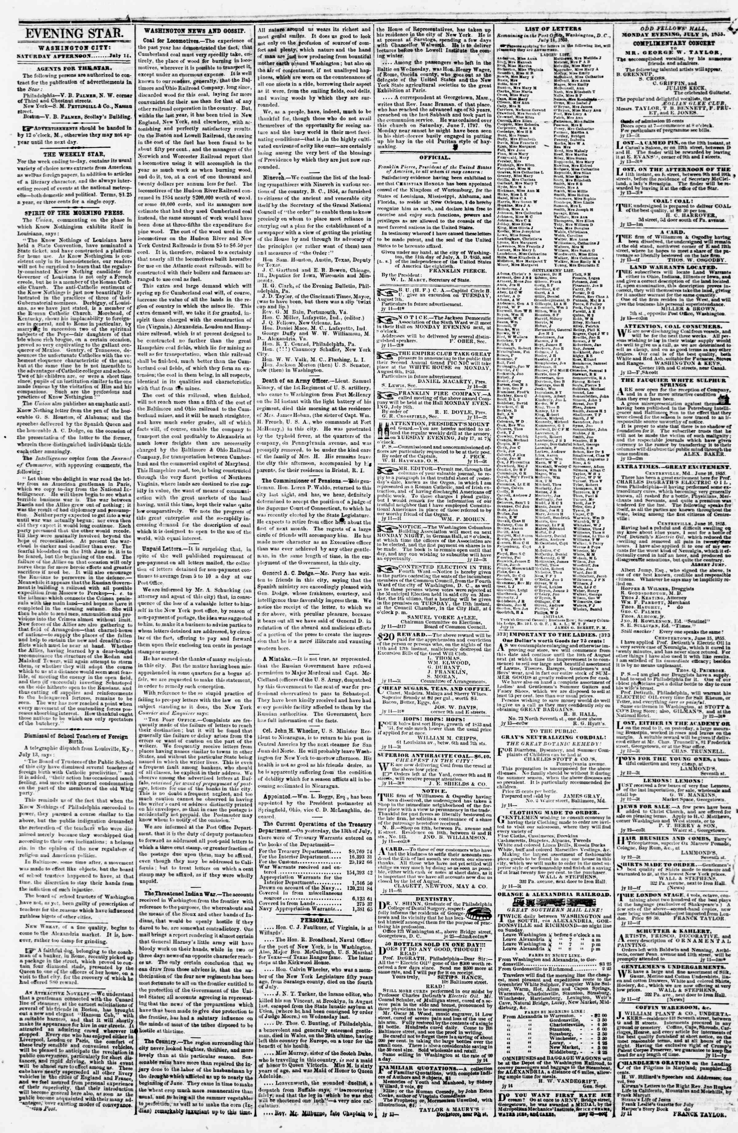 Newspaper of Evening Star dated July 14, 1855 Page 2