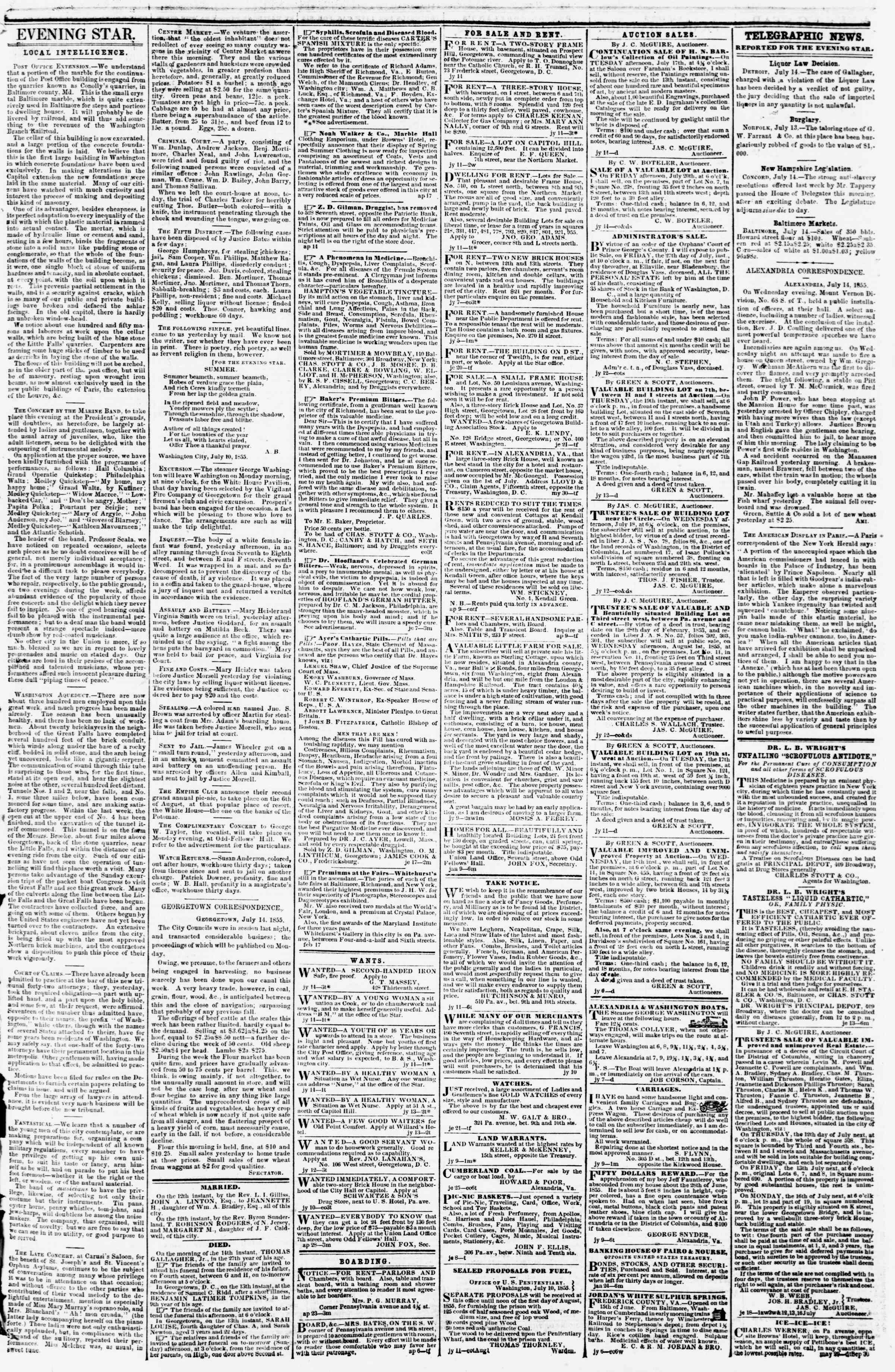 Newspaper of Evening Star dated July 14, 1855 Page 3