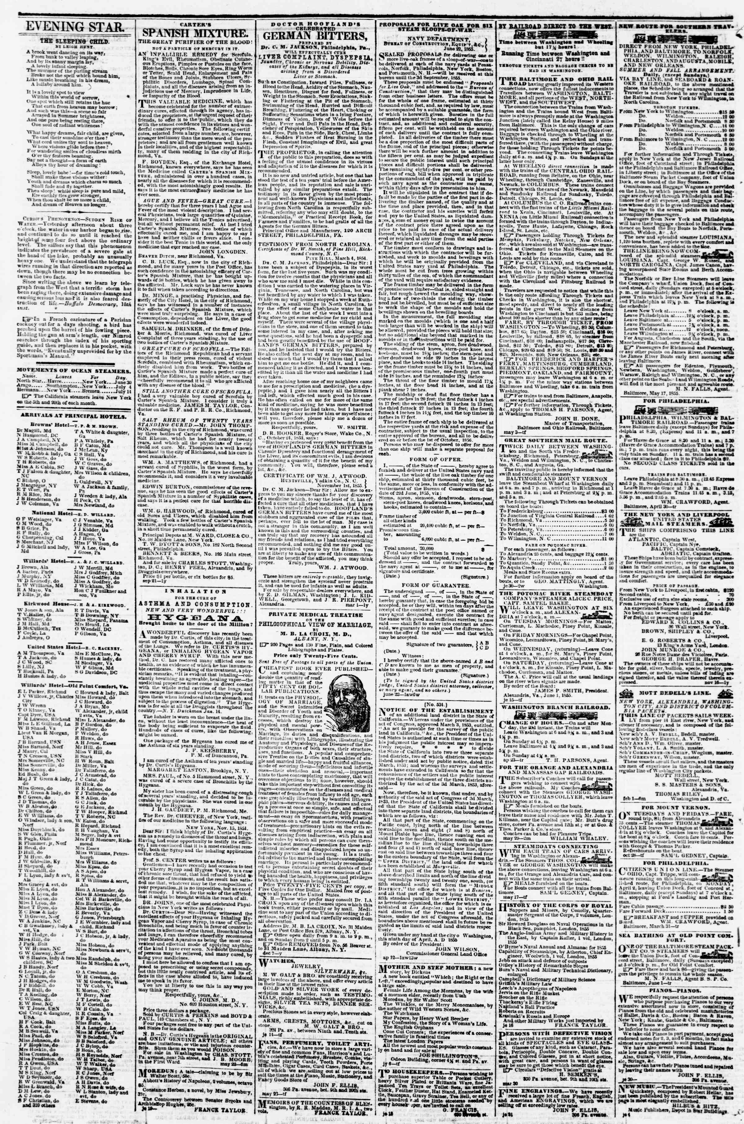 Newspaper of Evening Star dated July 14, 1855 Page 4