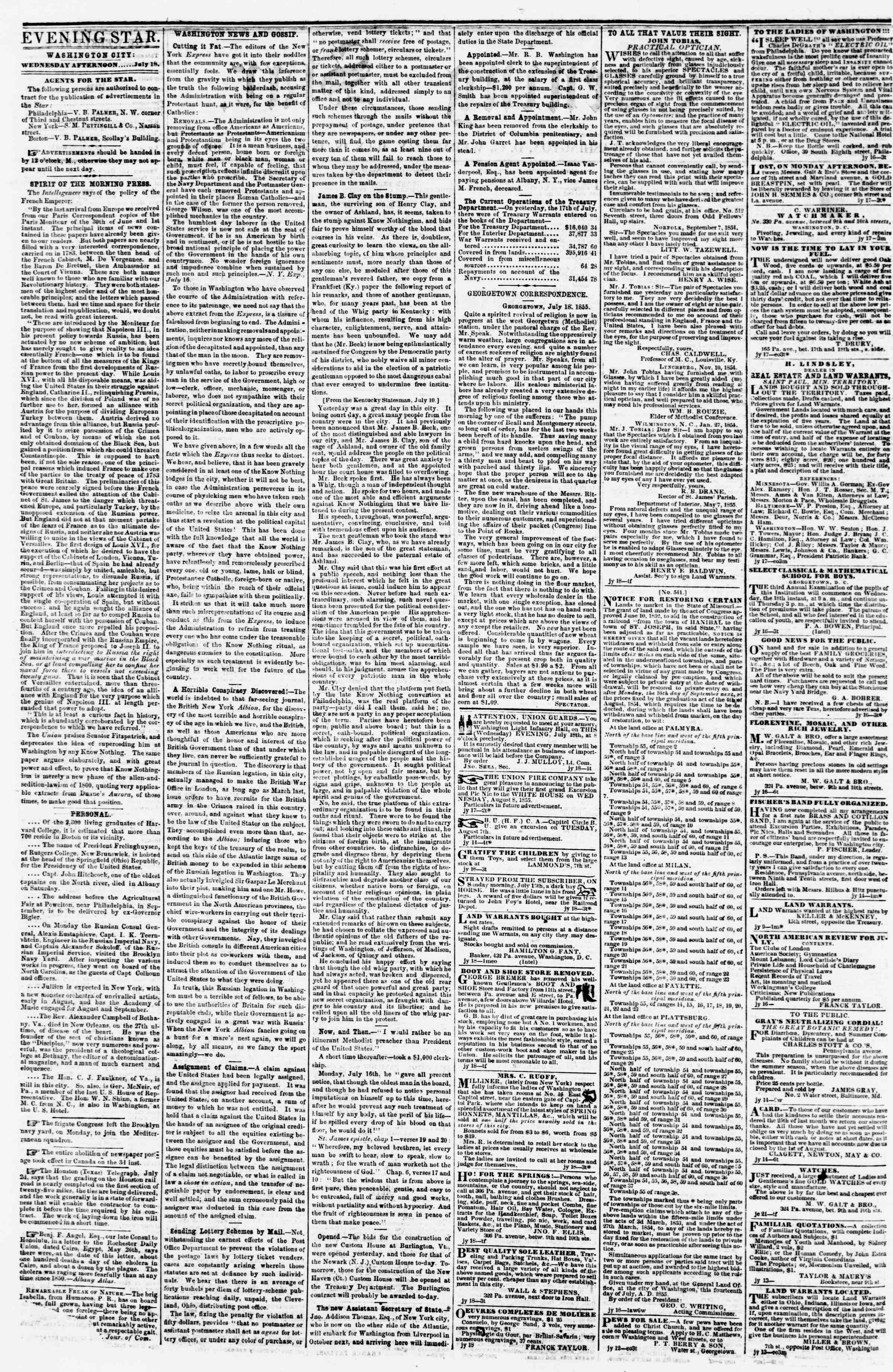 Newspaper of Evening Star dated July 18, 1855 Page 2