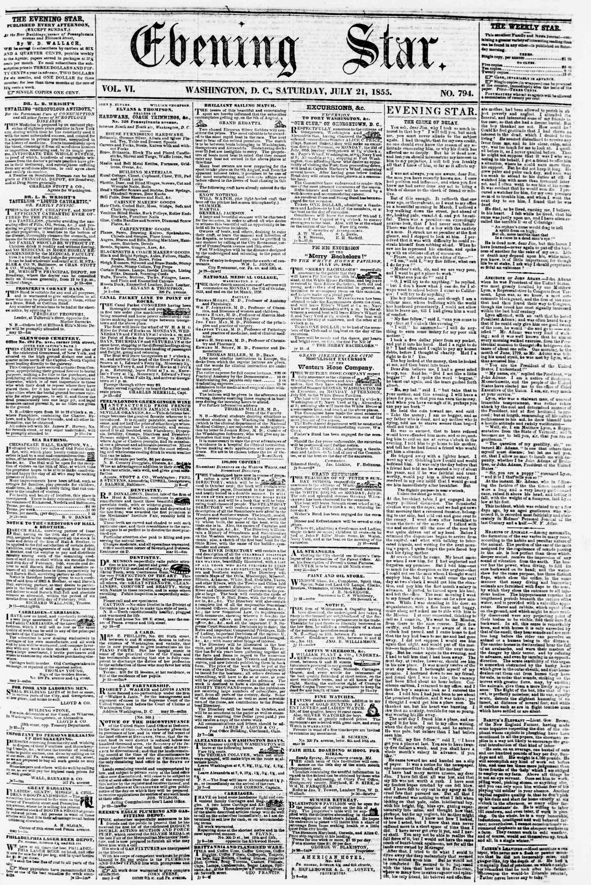 Newspaper of Evening Star dated July 21, 1855 Page 1
