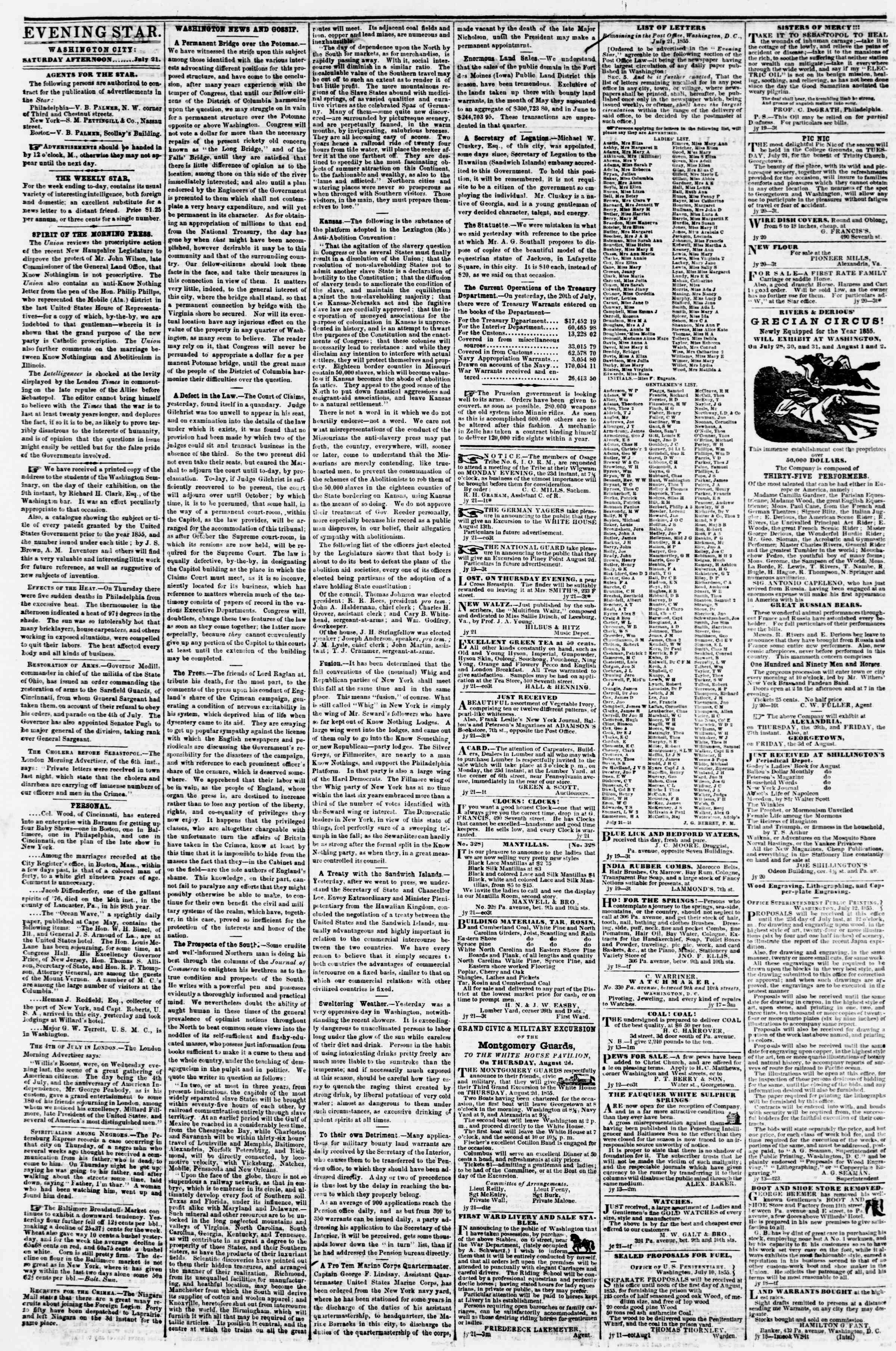 Newspaper of Evening Star dated July 21, 1855 Page 2