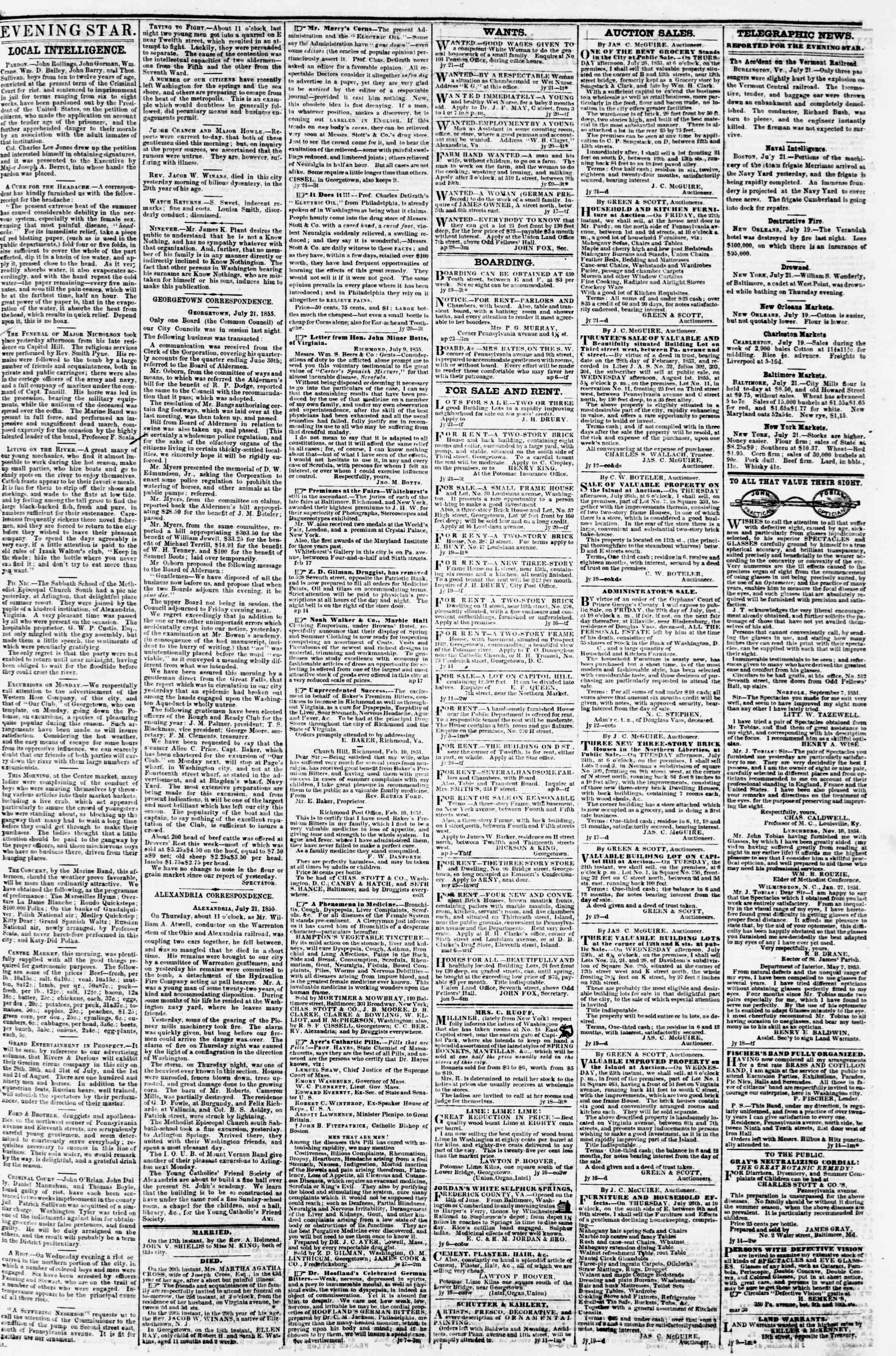 Newspaper of Evening Star dated July 21, 1855 Page 3