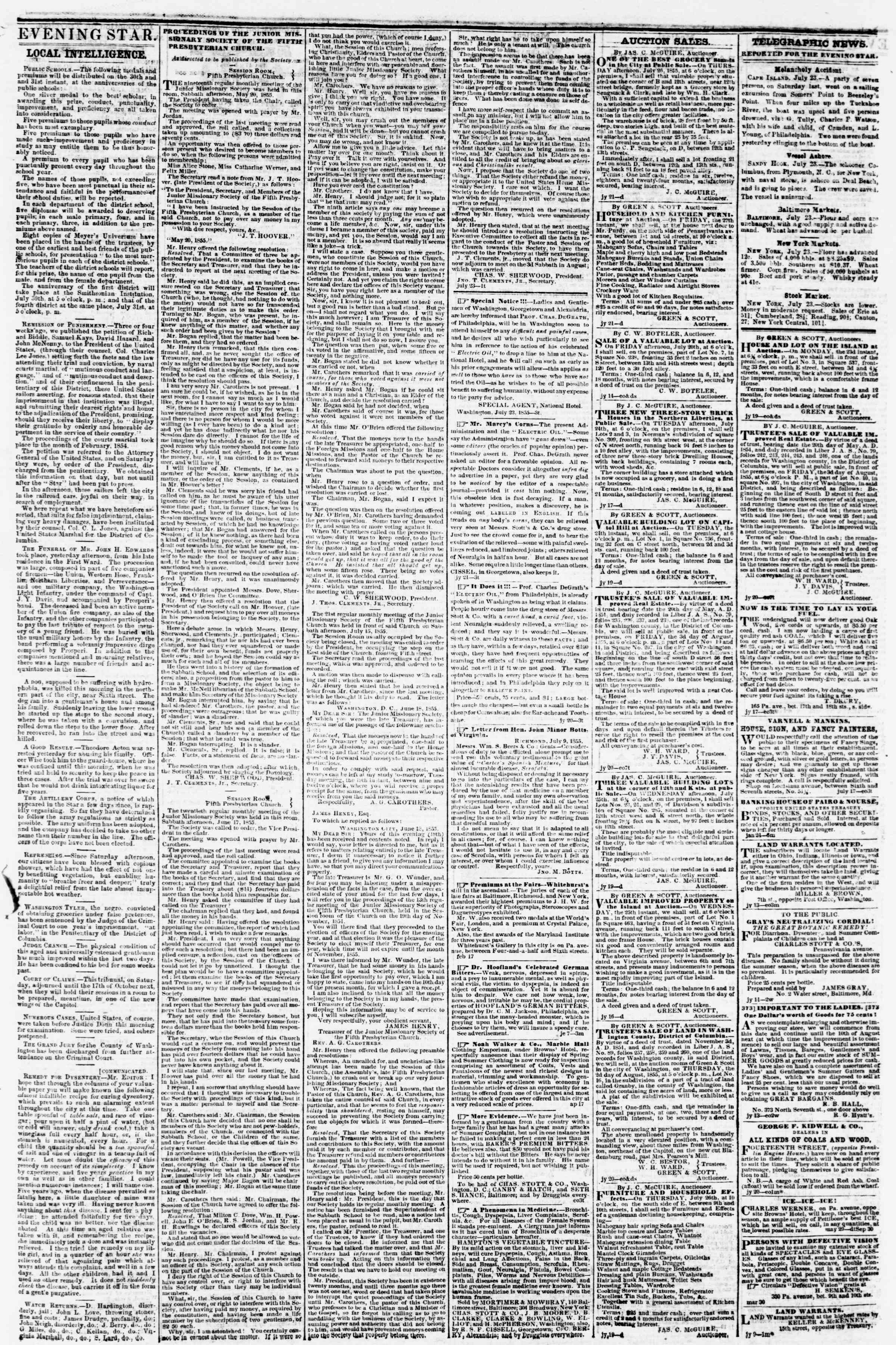 Newspaper of Evening Star dated July 23, 1855 Page 3