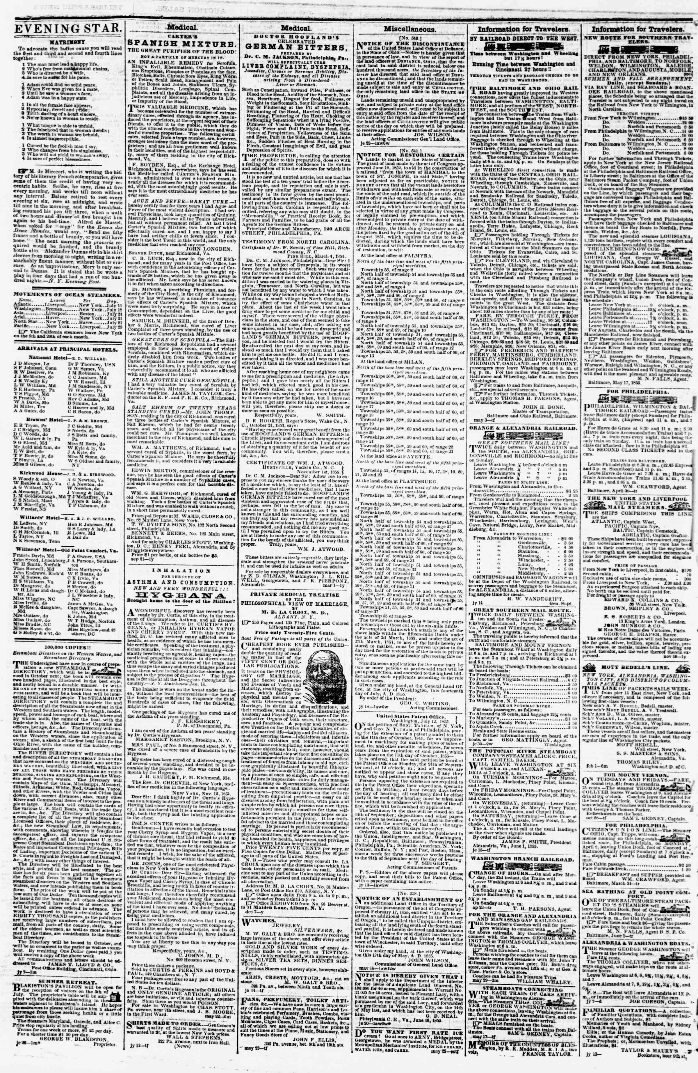 Newspaper of Evening Star dated July 24, 1855 Page 4