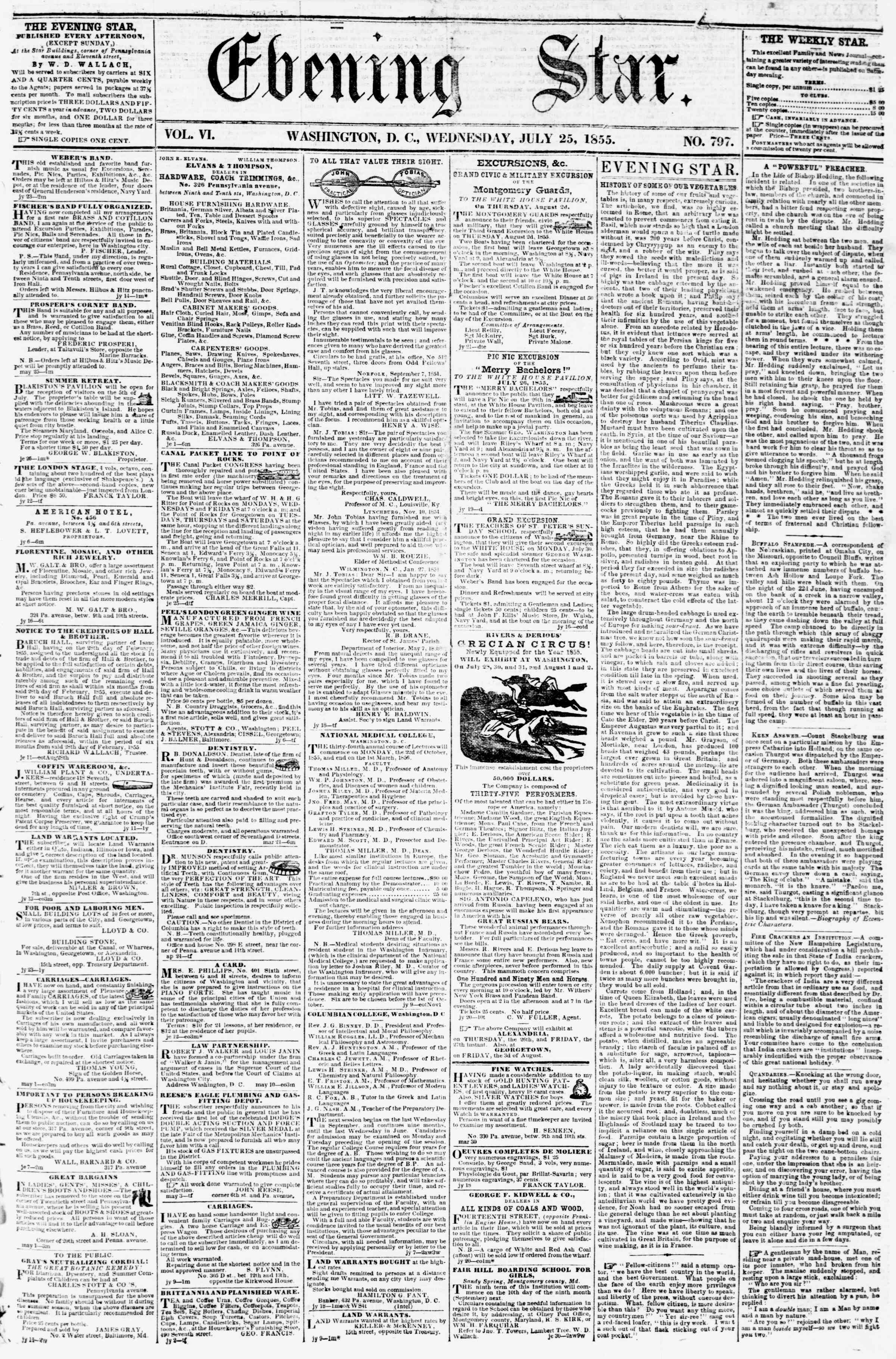 Newspaper of Evening Star dated July 25, 1855 Page 1