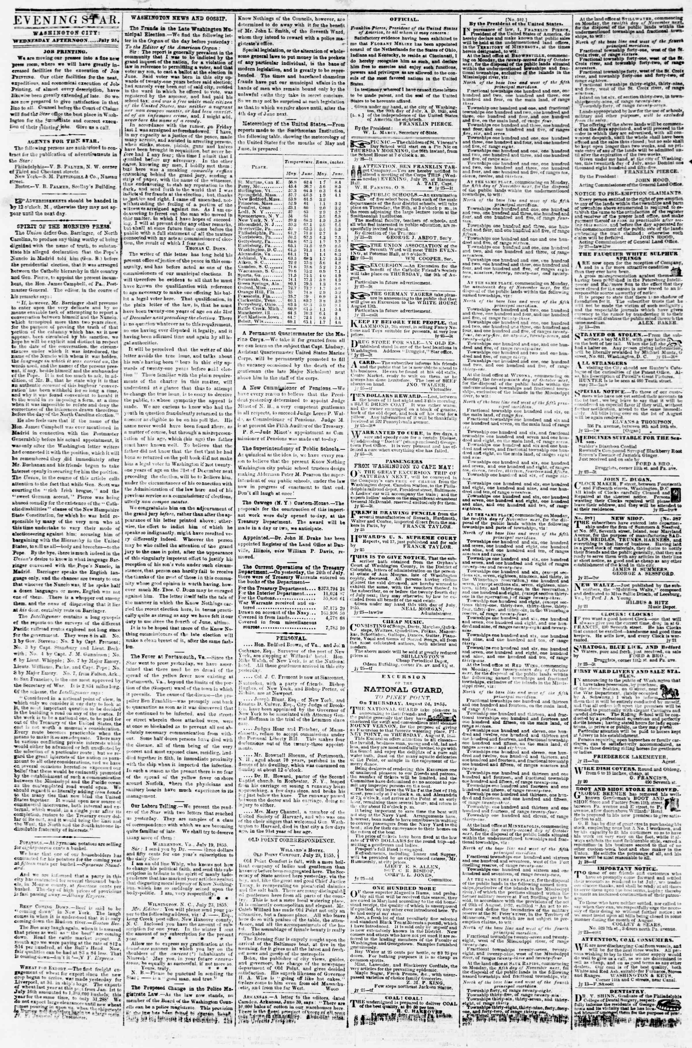 Newspaper of Evening Star dated July 25, 1855 Page 2