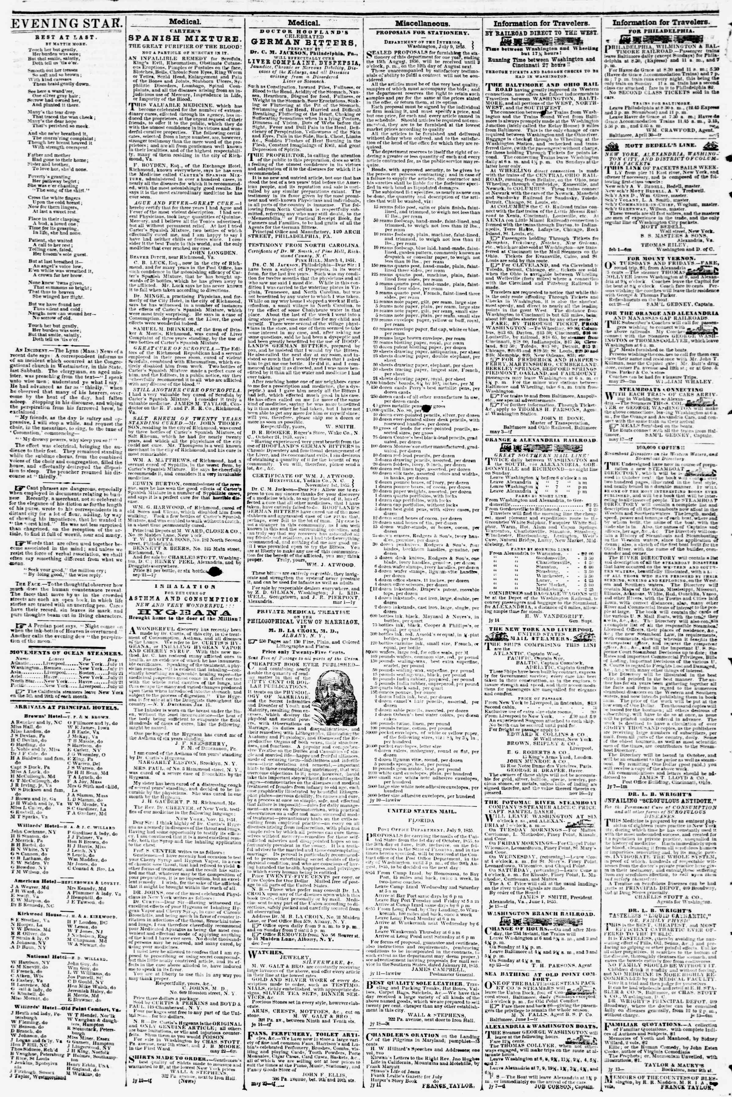 Newspaper of Evening Star dated July 25, 1855 Page 4