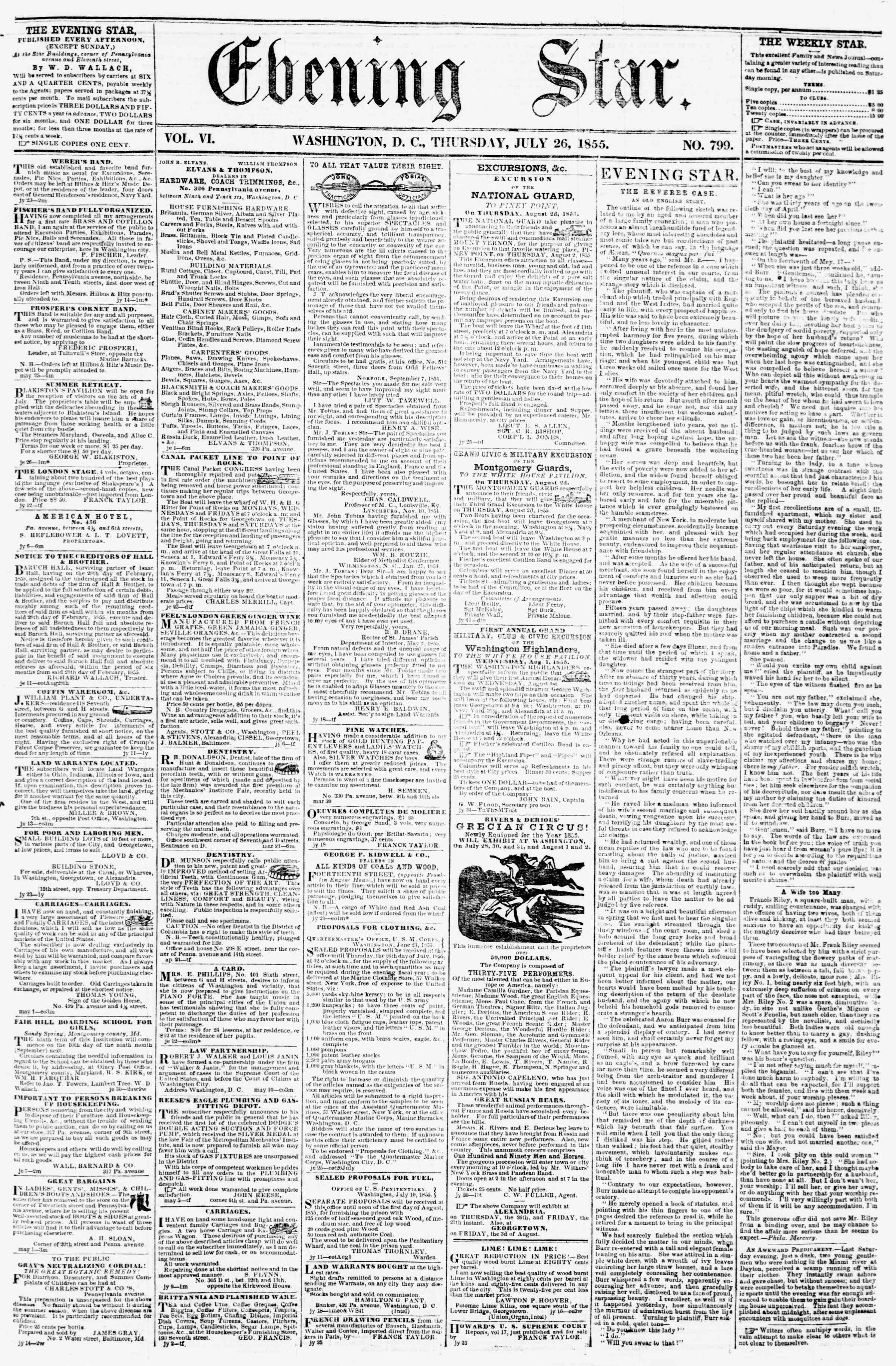Newspaper of Evening Star dated July 26, 1855 Page 1