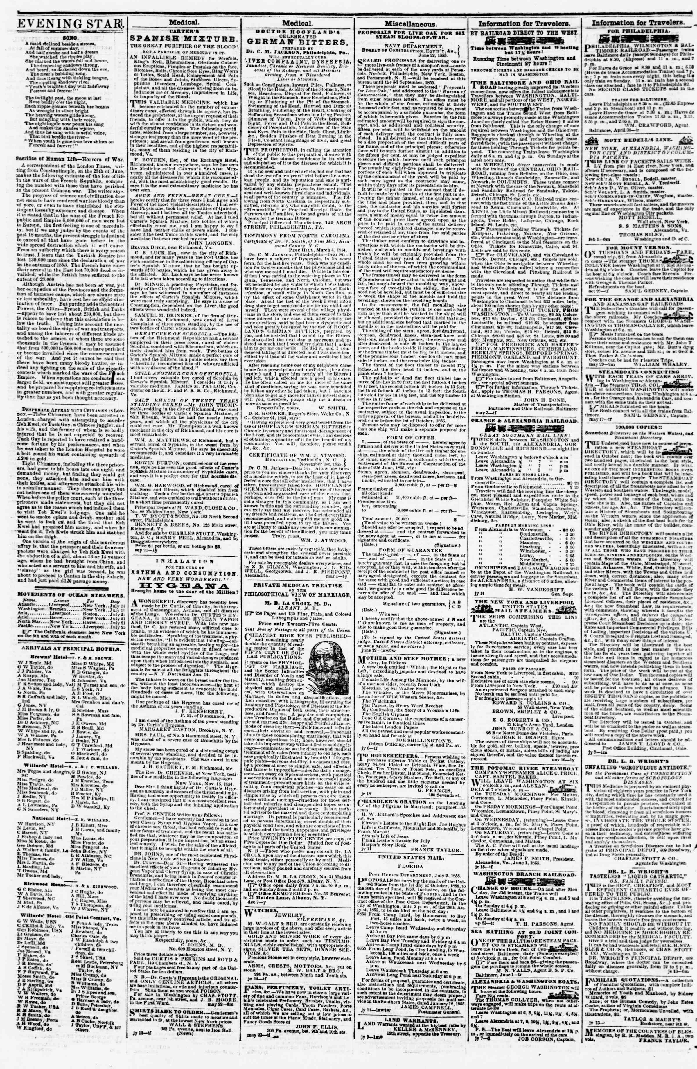 Newspaper of Evening Star dated July 26, 1855 Page 4