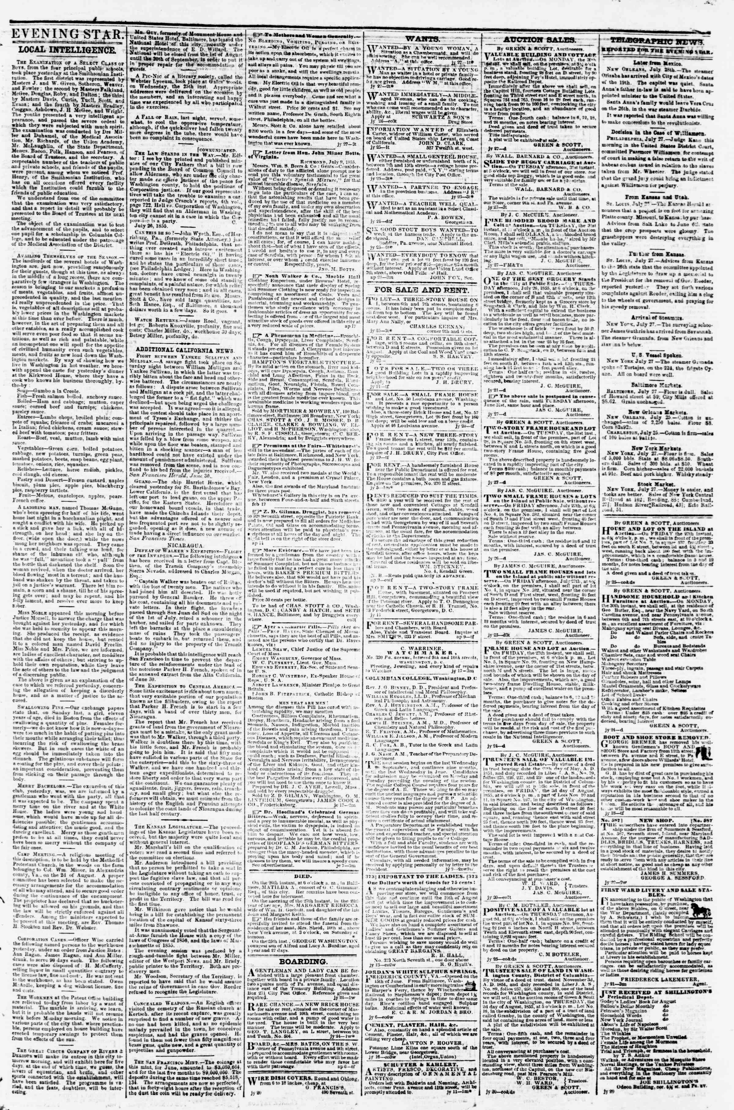 Newspaper of Evening Star dated July 27, 1855 Page 3
