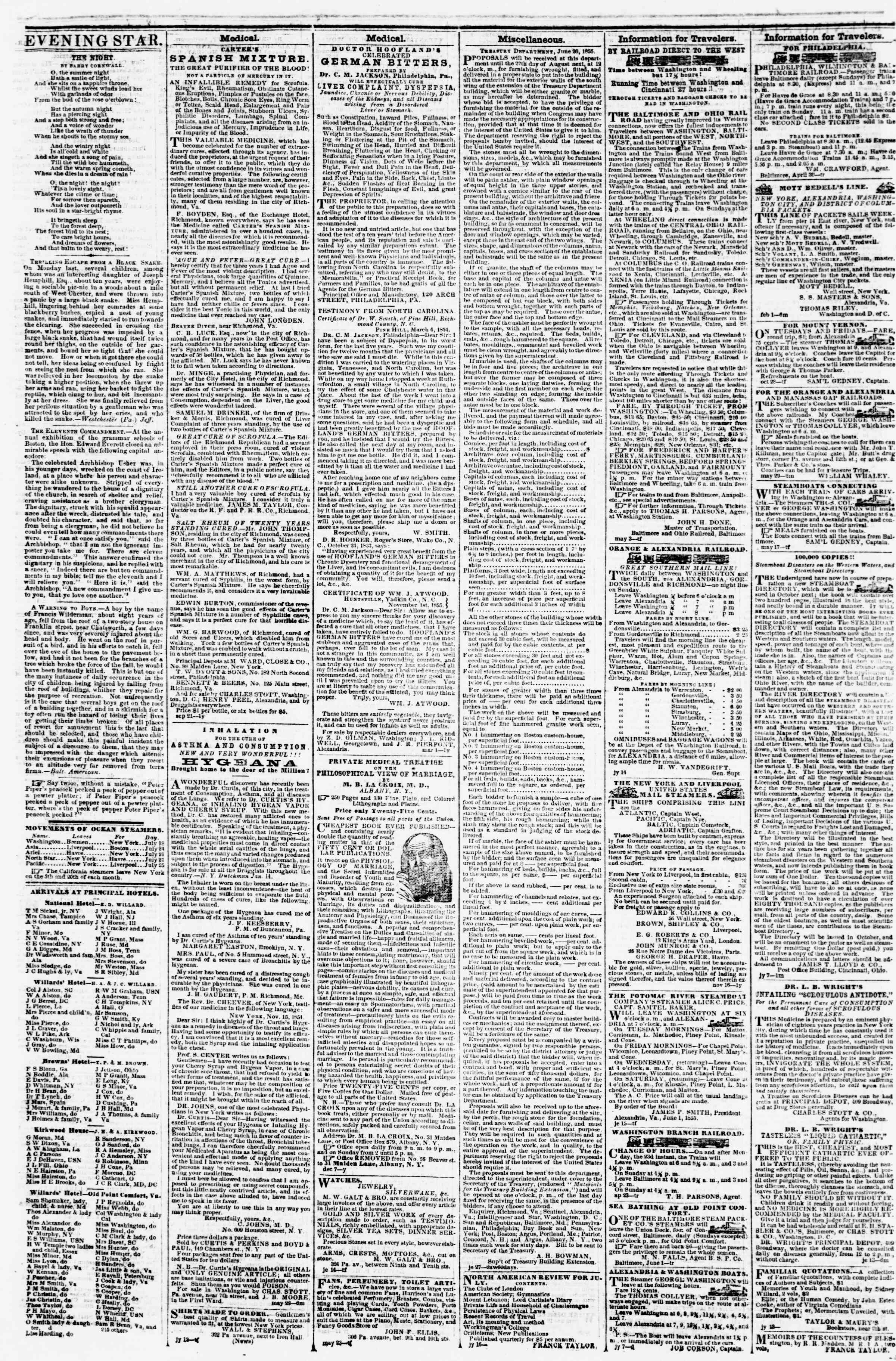 Newspaper of Evening Star dated July 27, 1855 Page 4