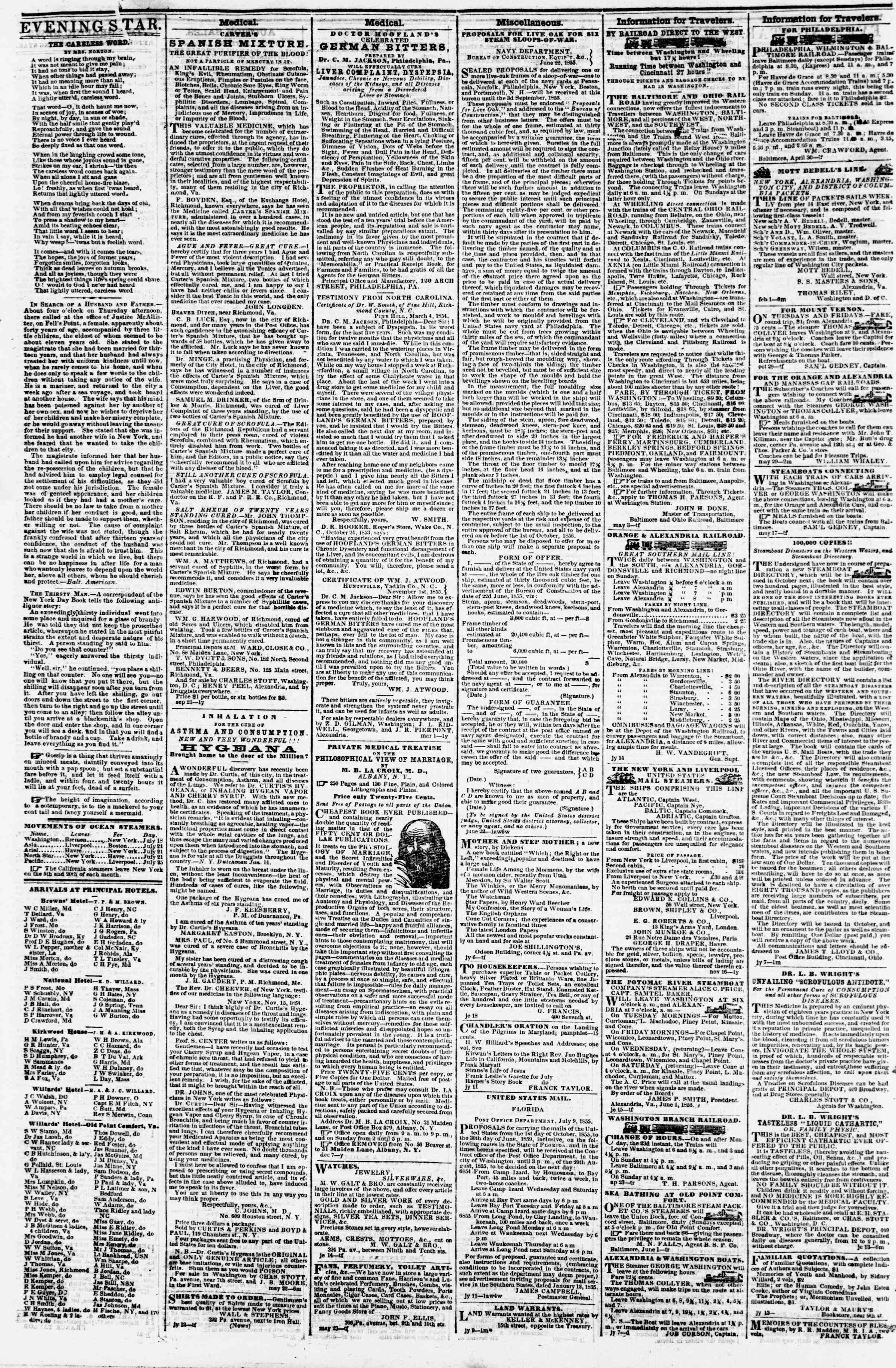 Newspaper of Evening Star dated July 28, 1855 Page 4