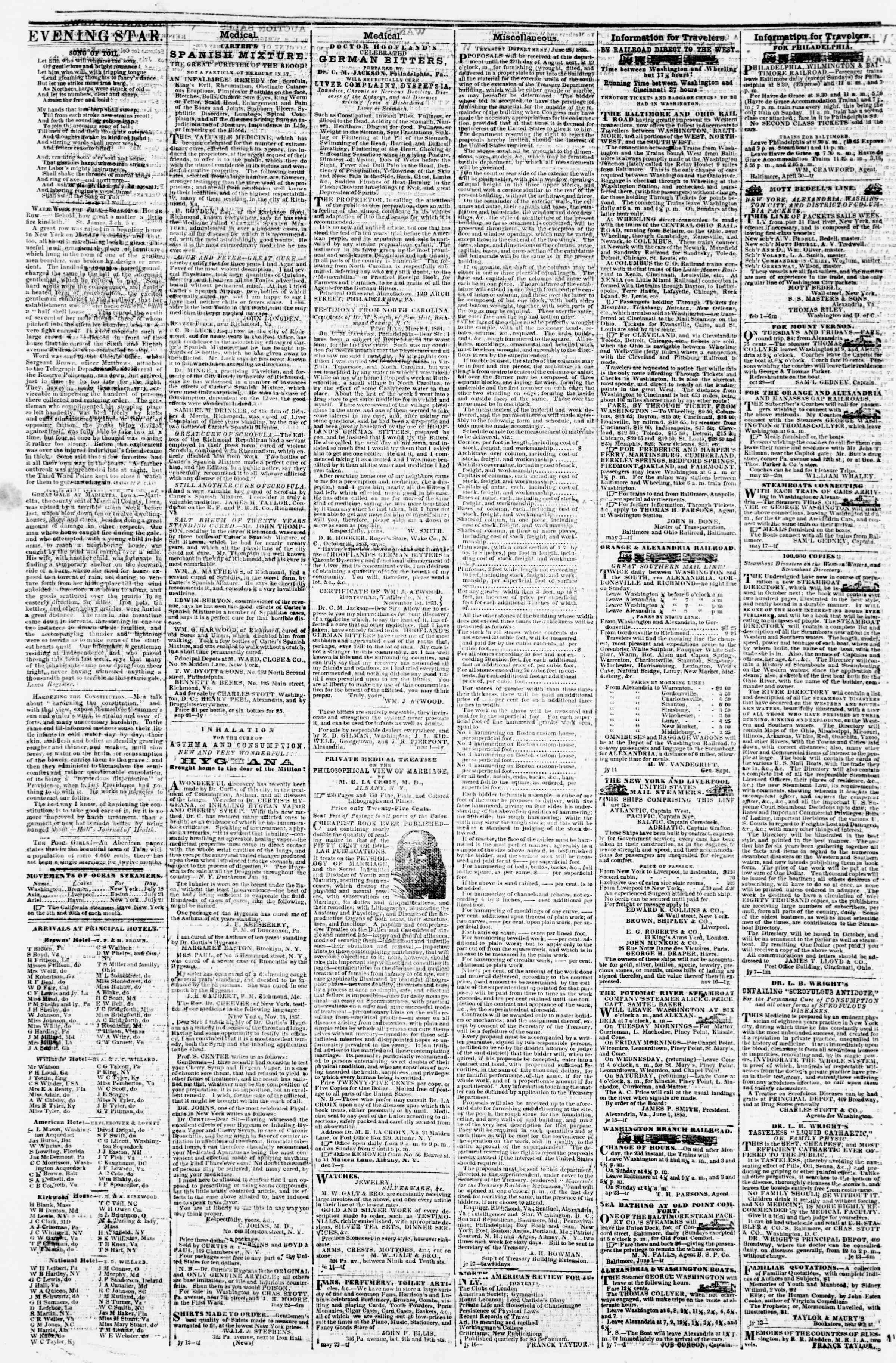 Newspaper of Evening Star dated July 30, 1855 Page 4