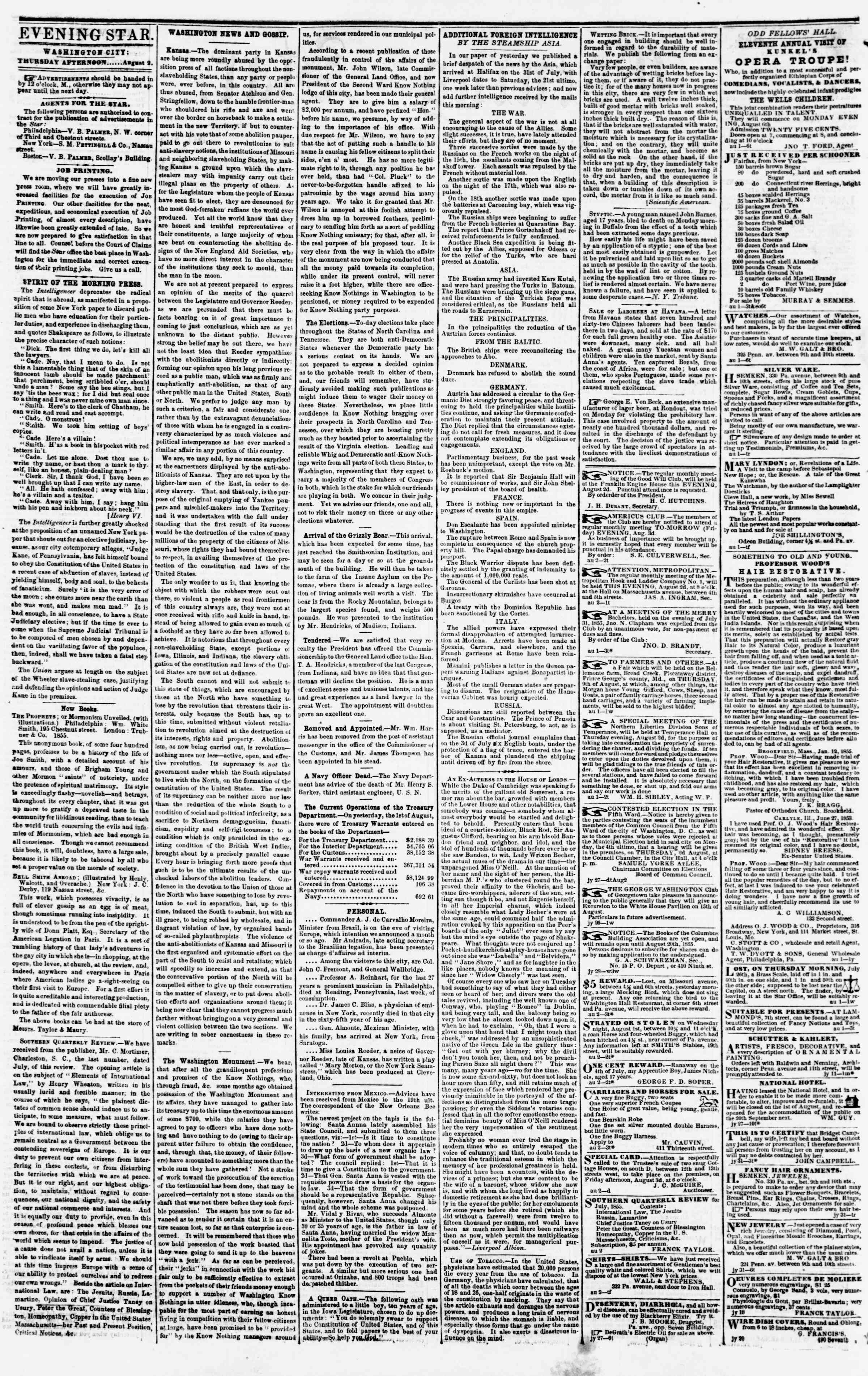 Newspaper of Evening Star dated August 2, 1855 Page 2