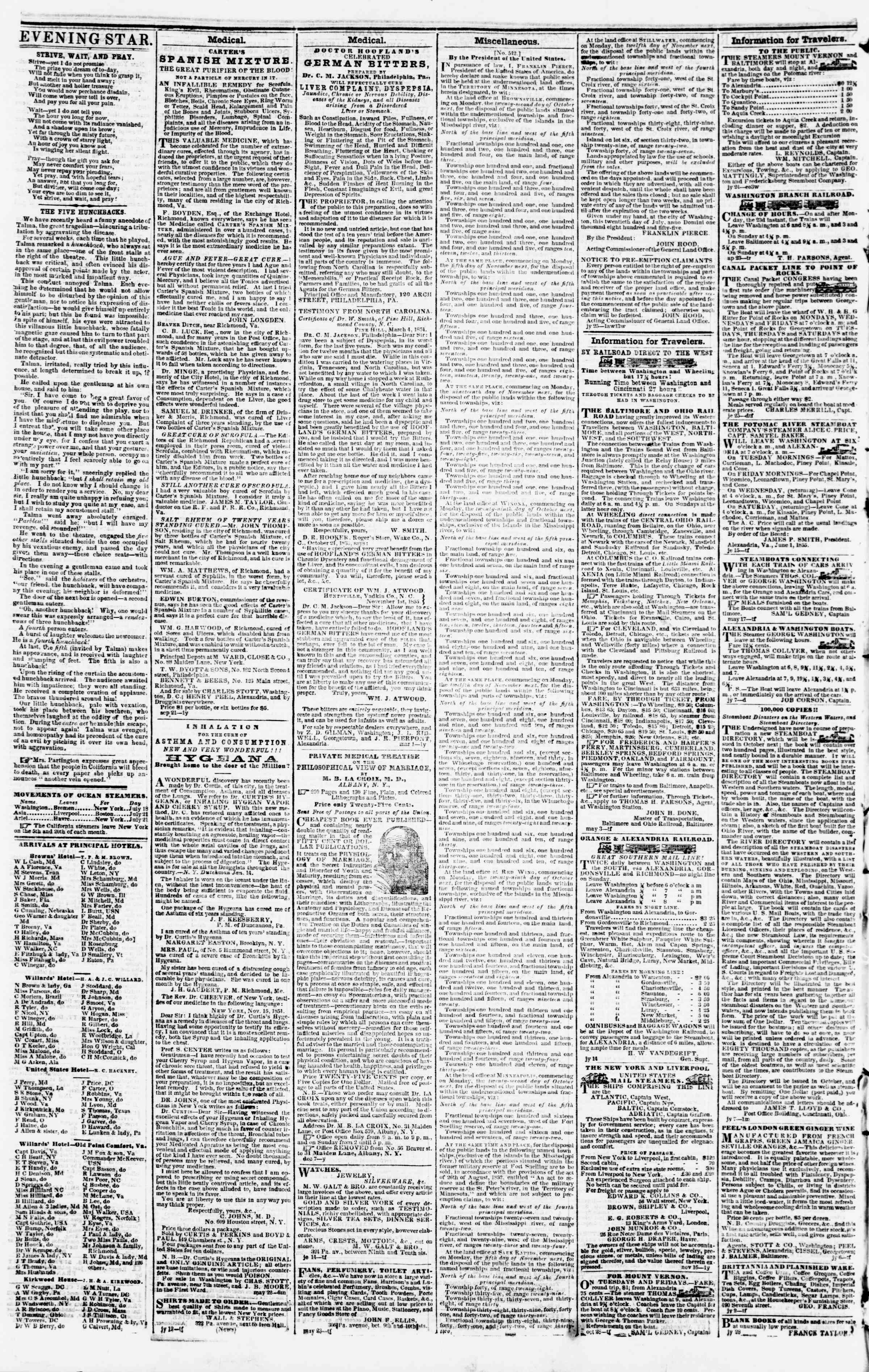 Newspaper of Evening Star dated August 2, 1855 Page 4
