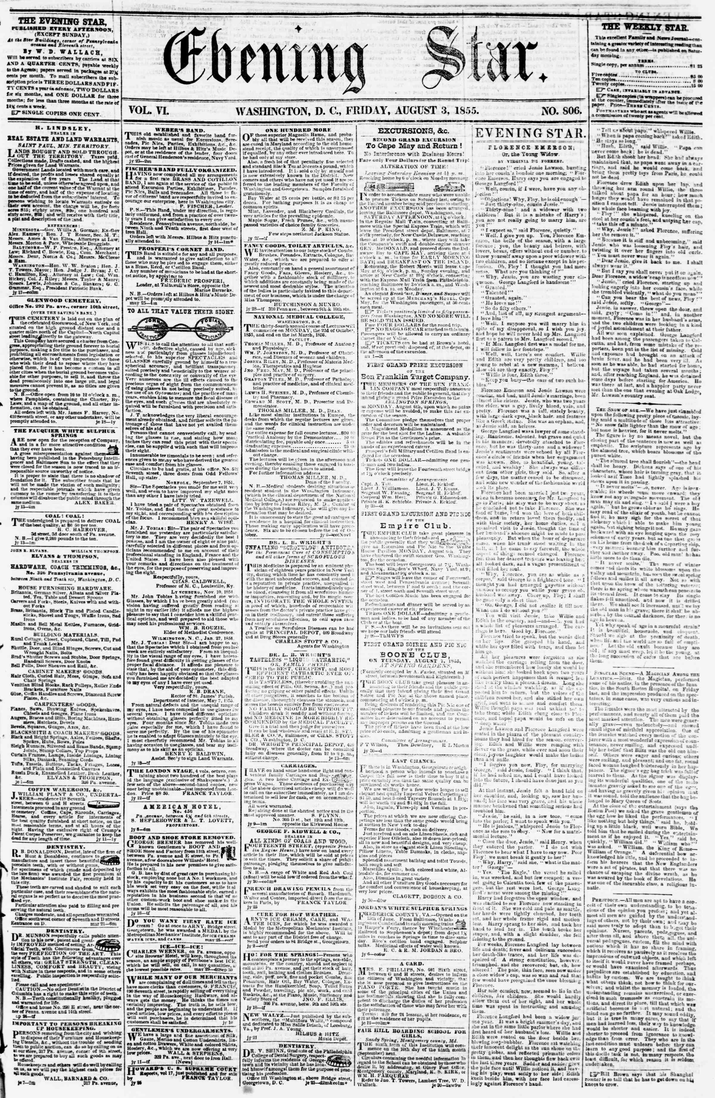 Newspaper of Evening Star dated August 3, 1855 Page 1