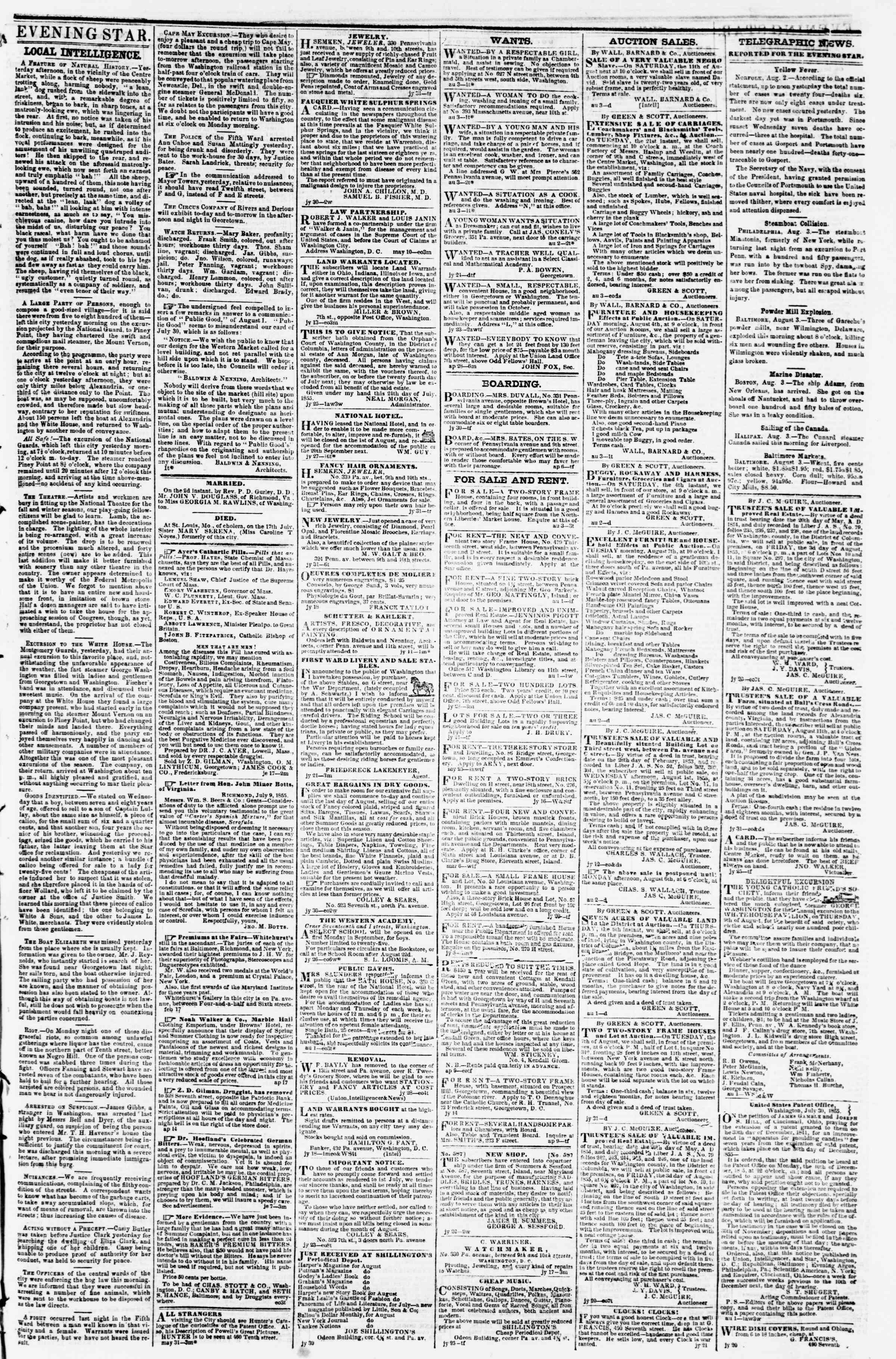 Newspaper of Evening Star dated August 3, 1855 Page 3