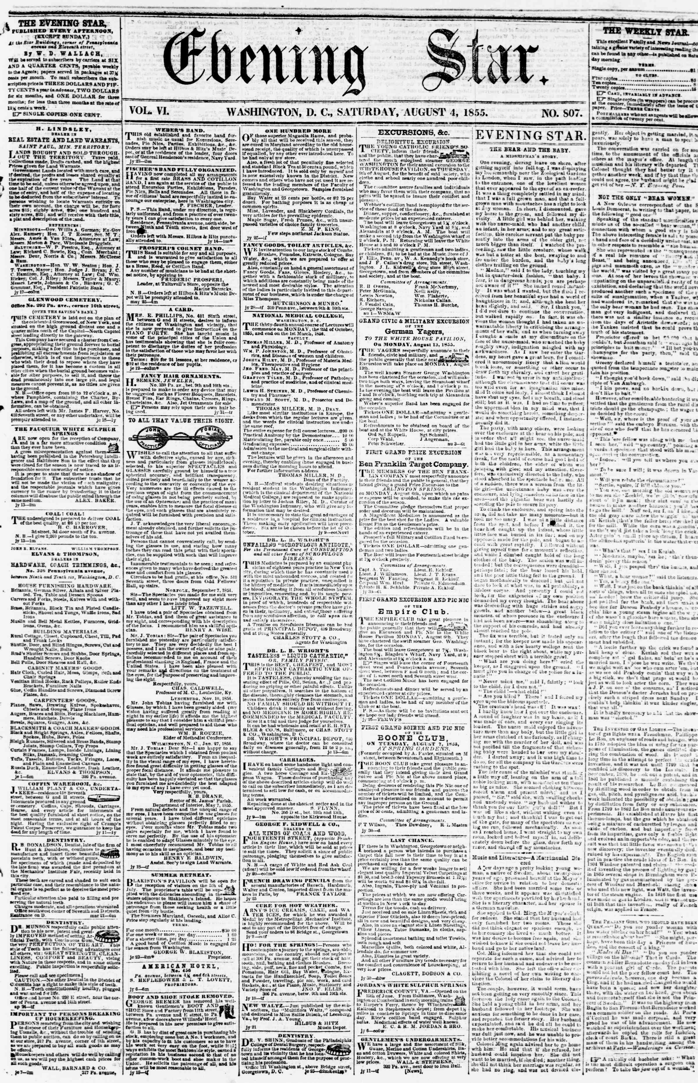 Newspaper of Evening Star dated August 4, 1855 Page 1