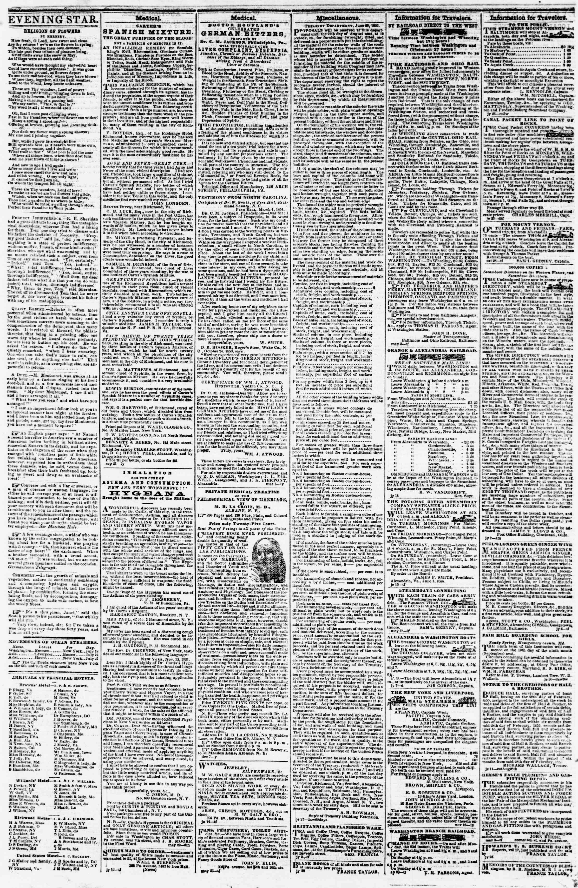 Newspaper of Evening Star dated August 4, 1855 Page 4