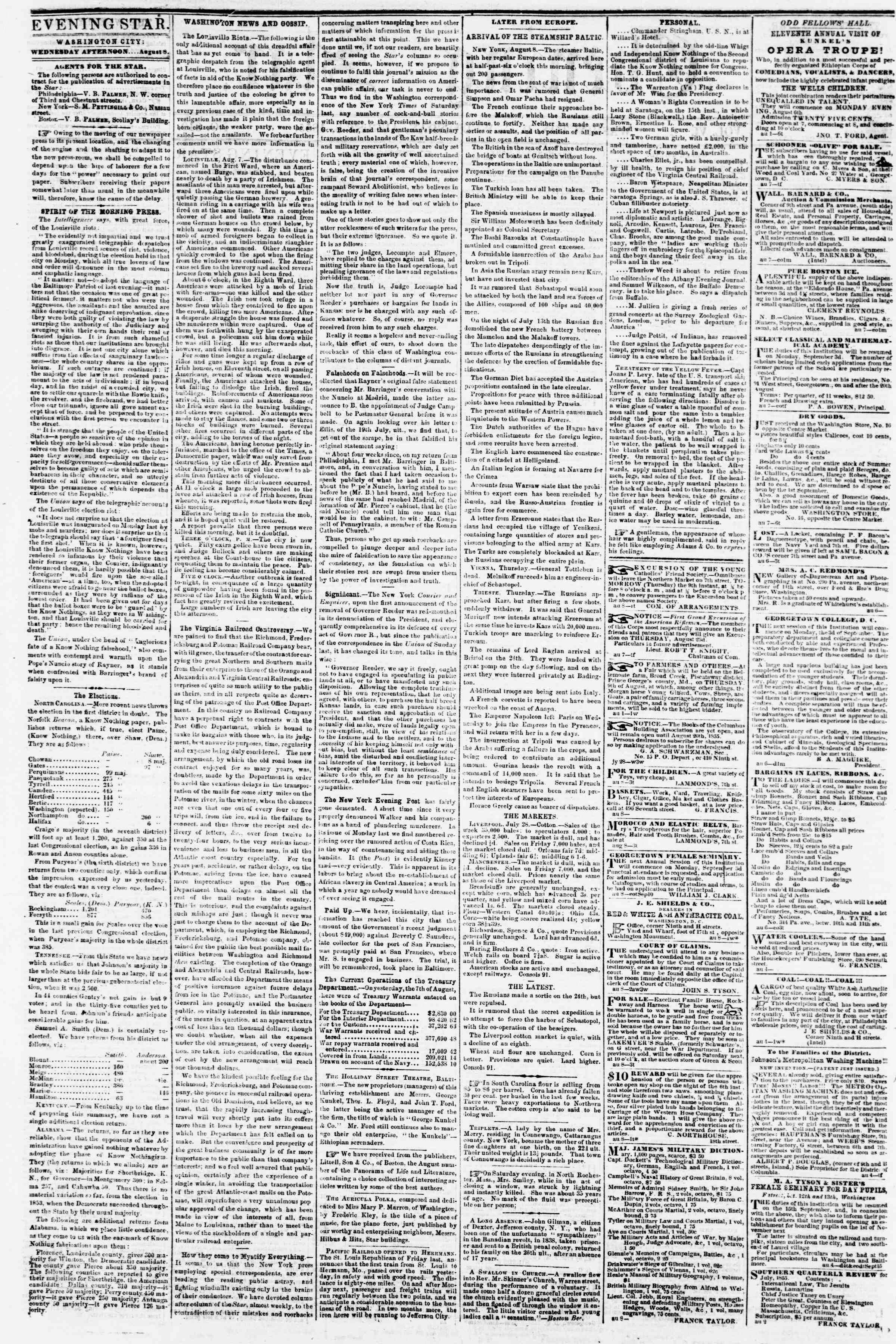 Newspaper of Evening Star dated August 8, 1855 Page 2