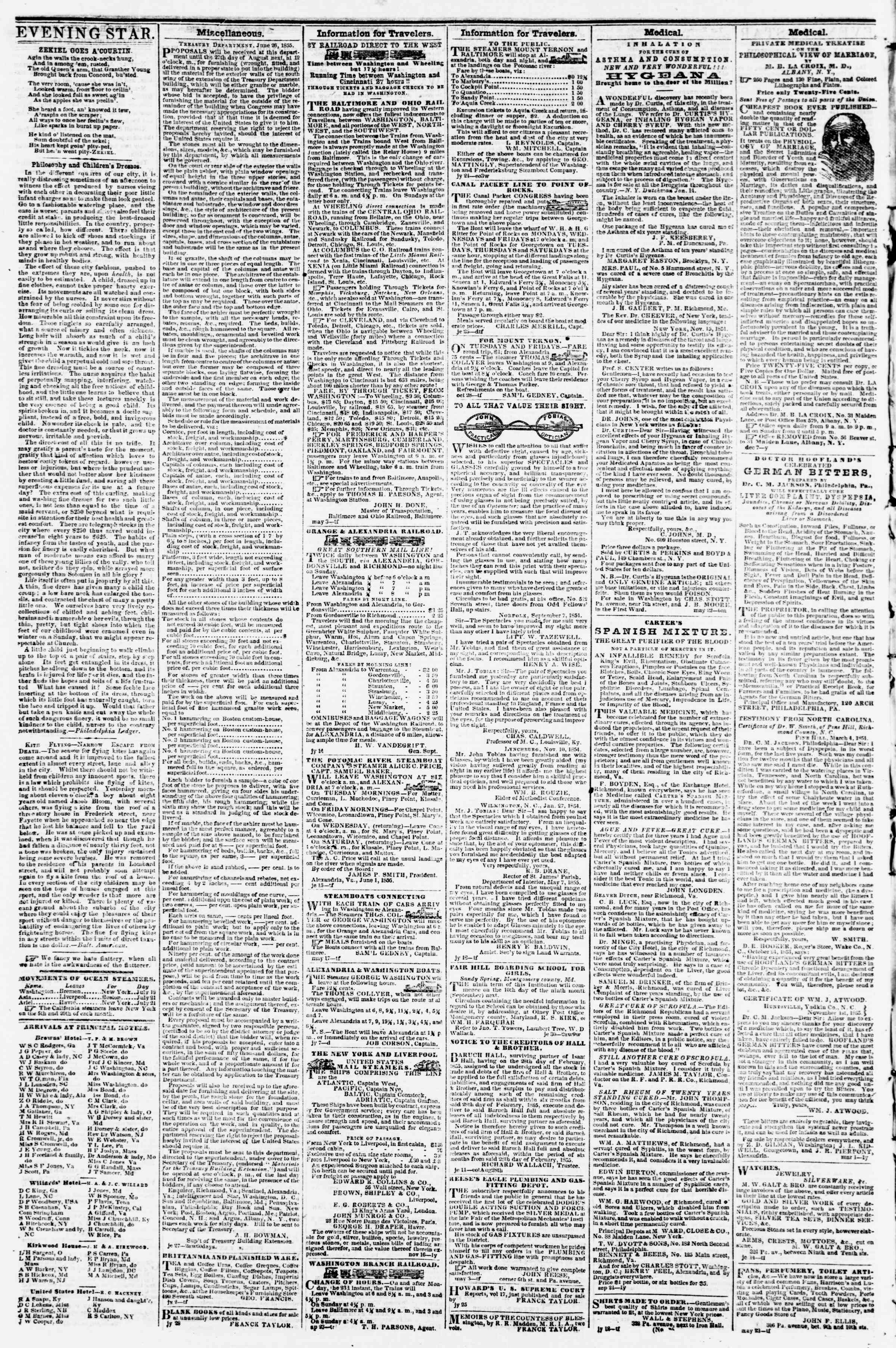 Newspaper of Evening Star dated August 8, 1855 Page 4