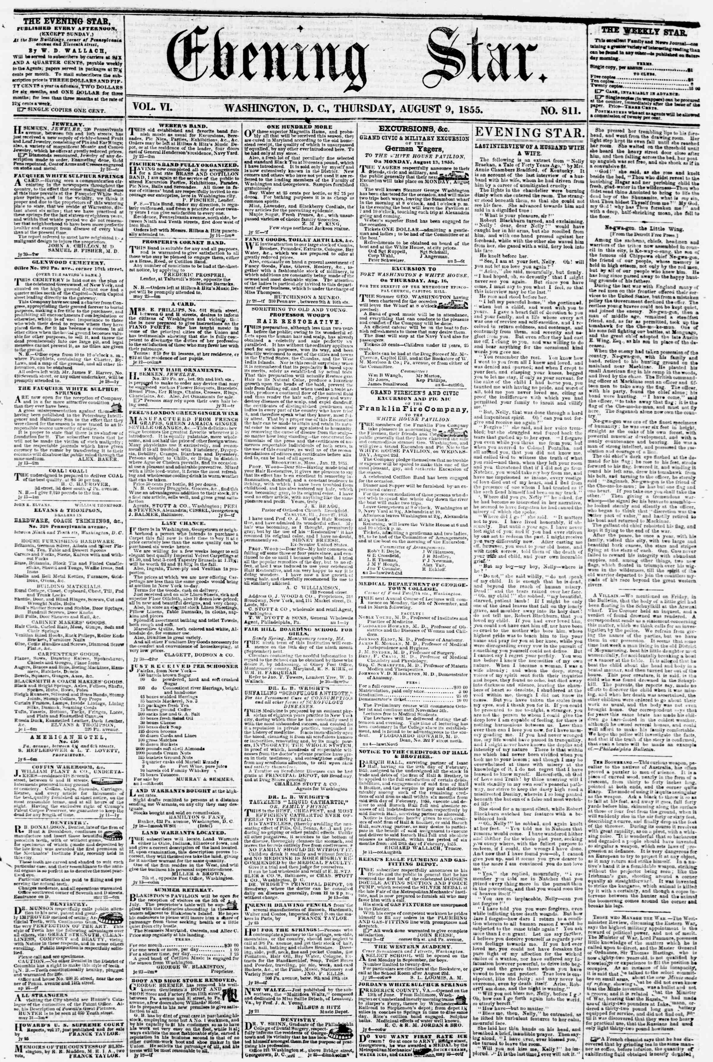 Newspaper of Evening Star dated August 9, 1855 Page 1