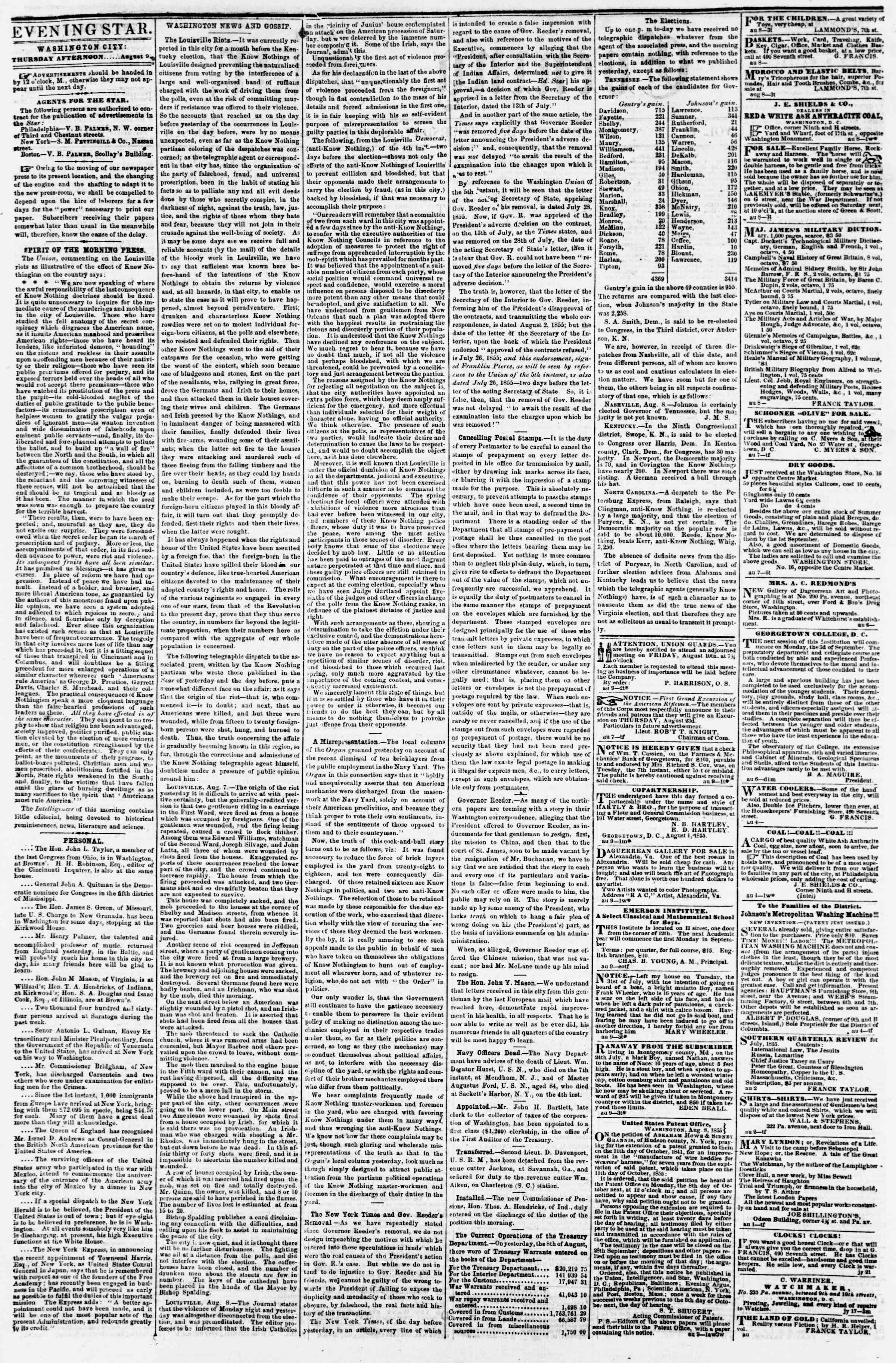 Newspaper of Evening Star dated August 9, 1855 Page 2