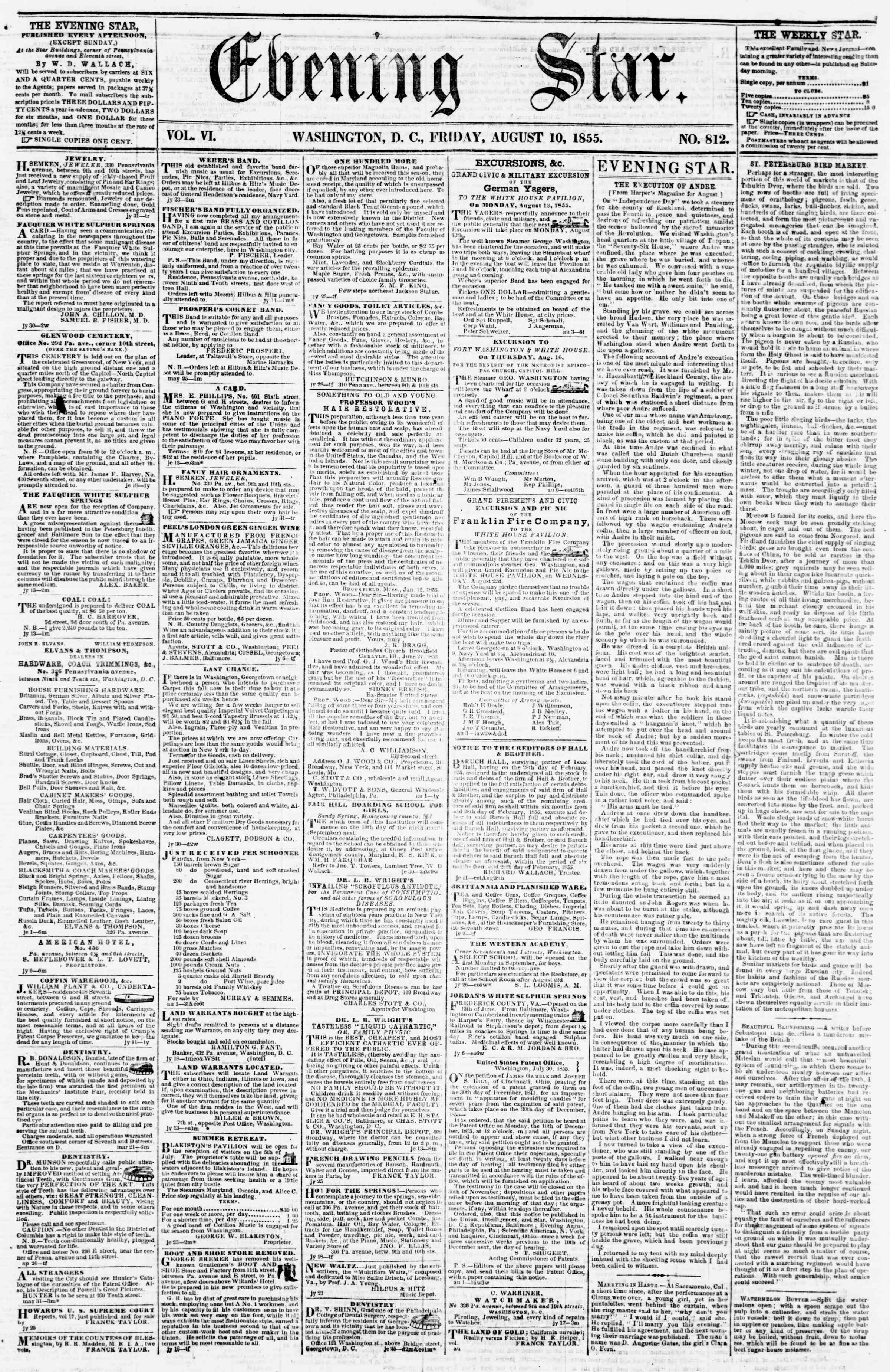 Newspaper of Evening Star dated August 10, 1855 Page 1