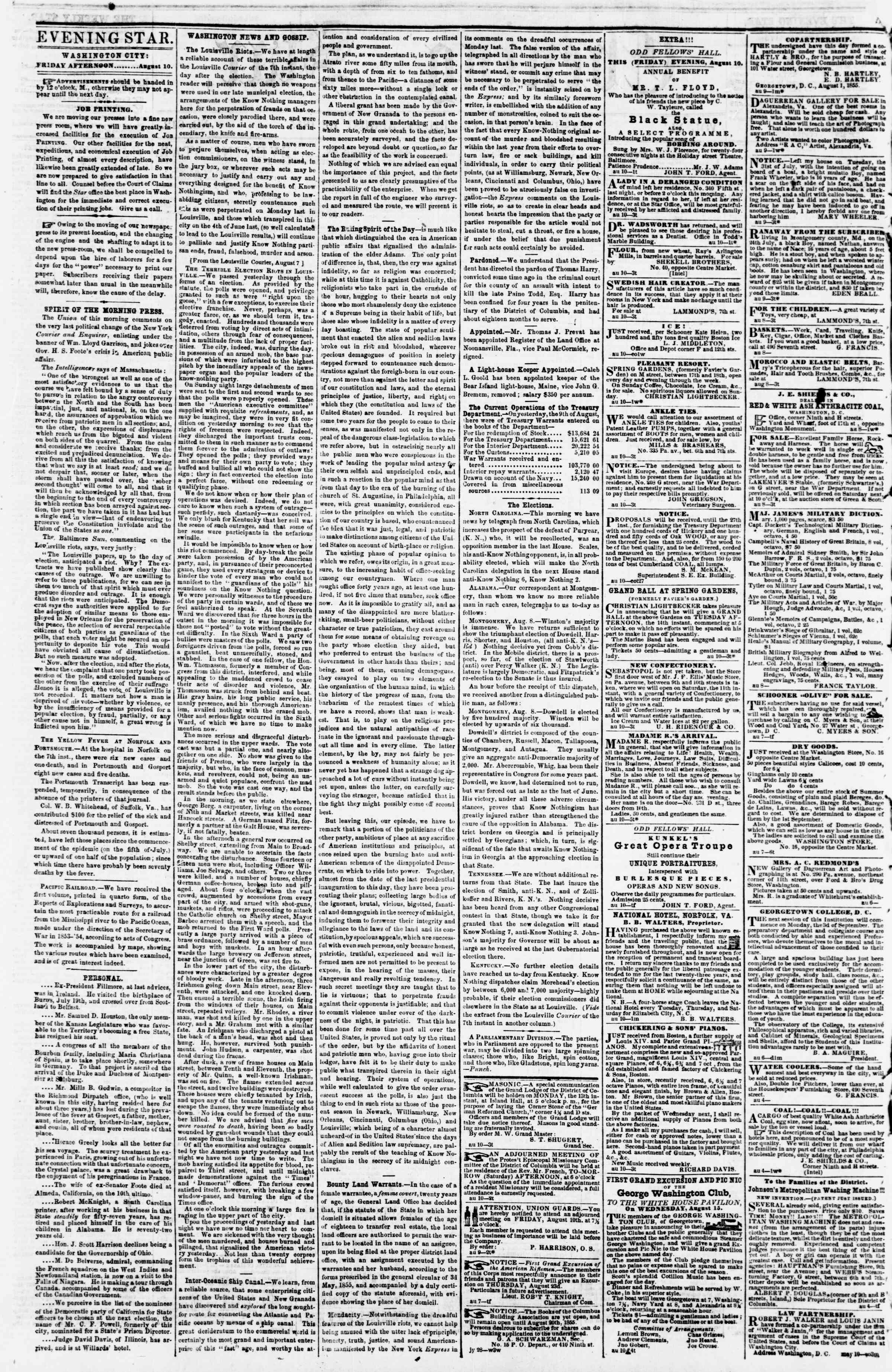 Newspaper of Evening Star dated August 10, 1855 Page 2