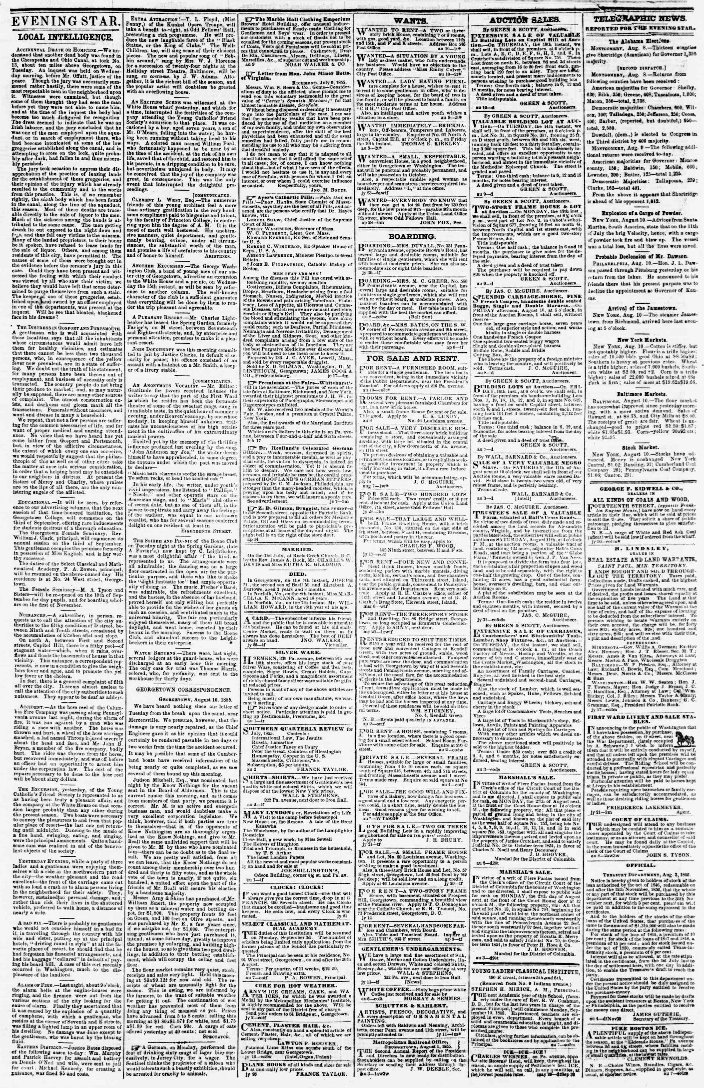 Newspaper of Evening Star dated August 10, 1855 Page 3