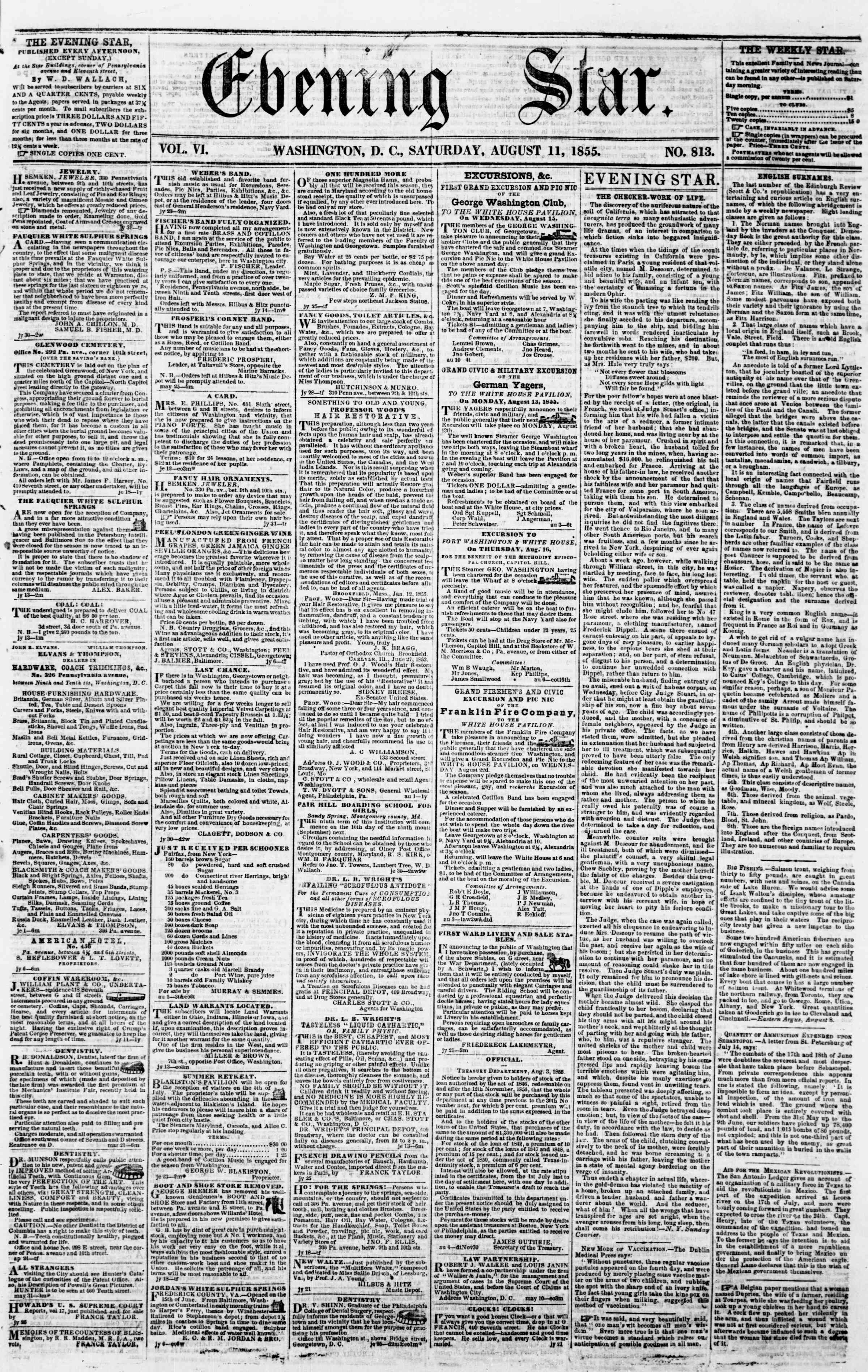 Newspaper of Evening Star dated August 11, 1855 Page 1
