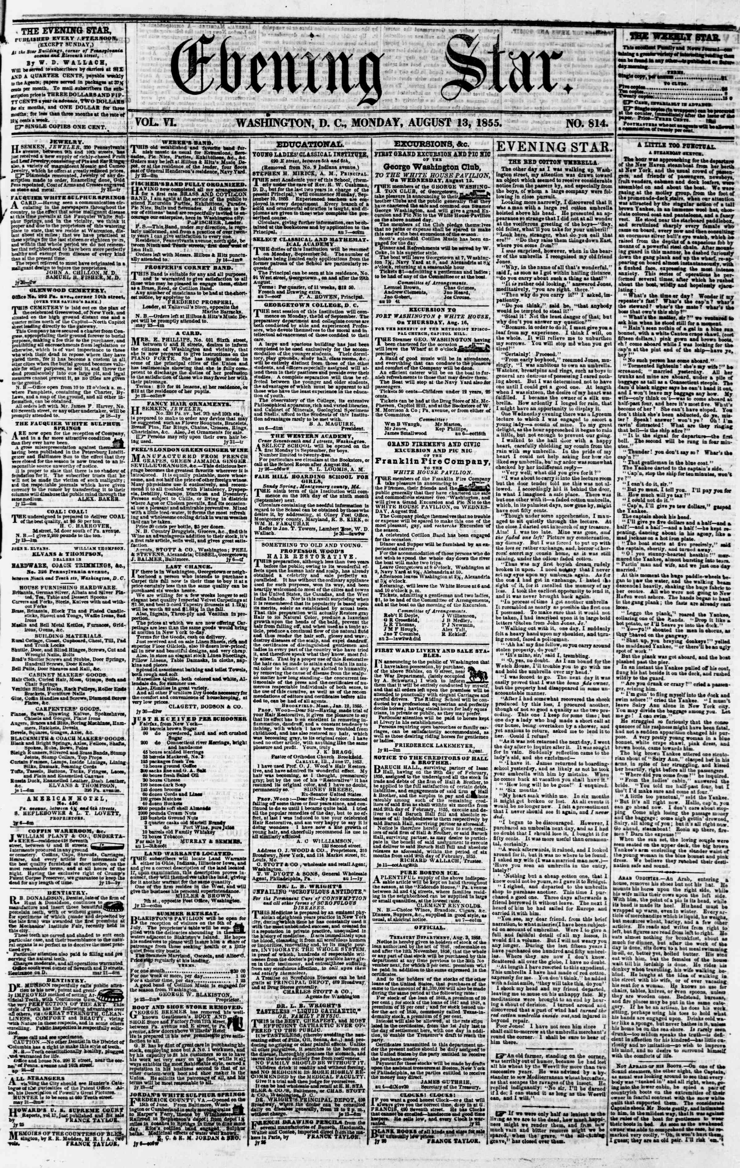 Newspaper of Evening Star dated August 13, 1855 Page 1