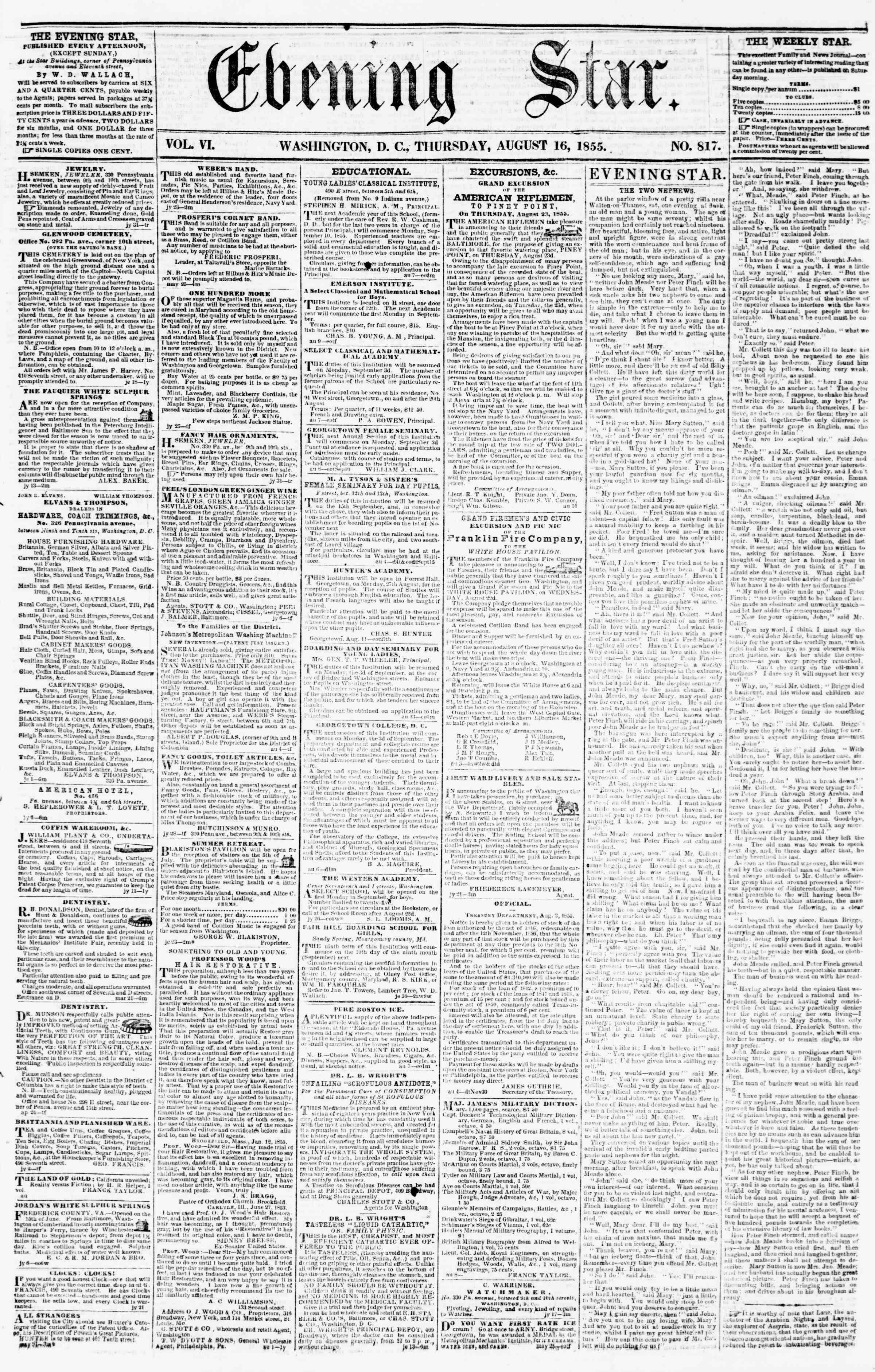Newspaper of Evening Star dated August 16, 1855 Page 1