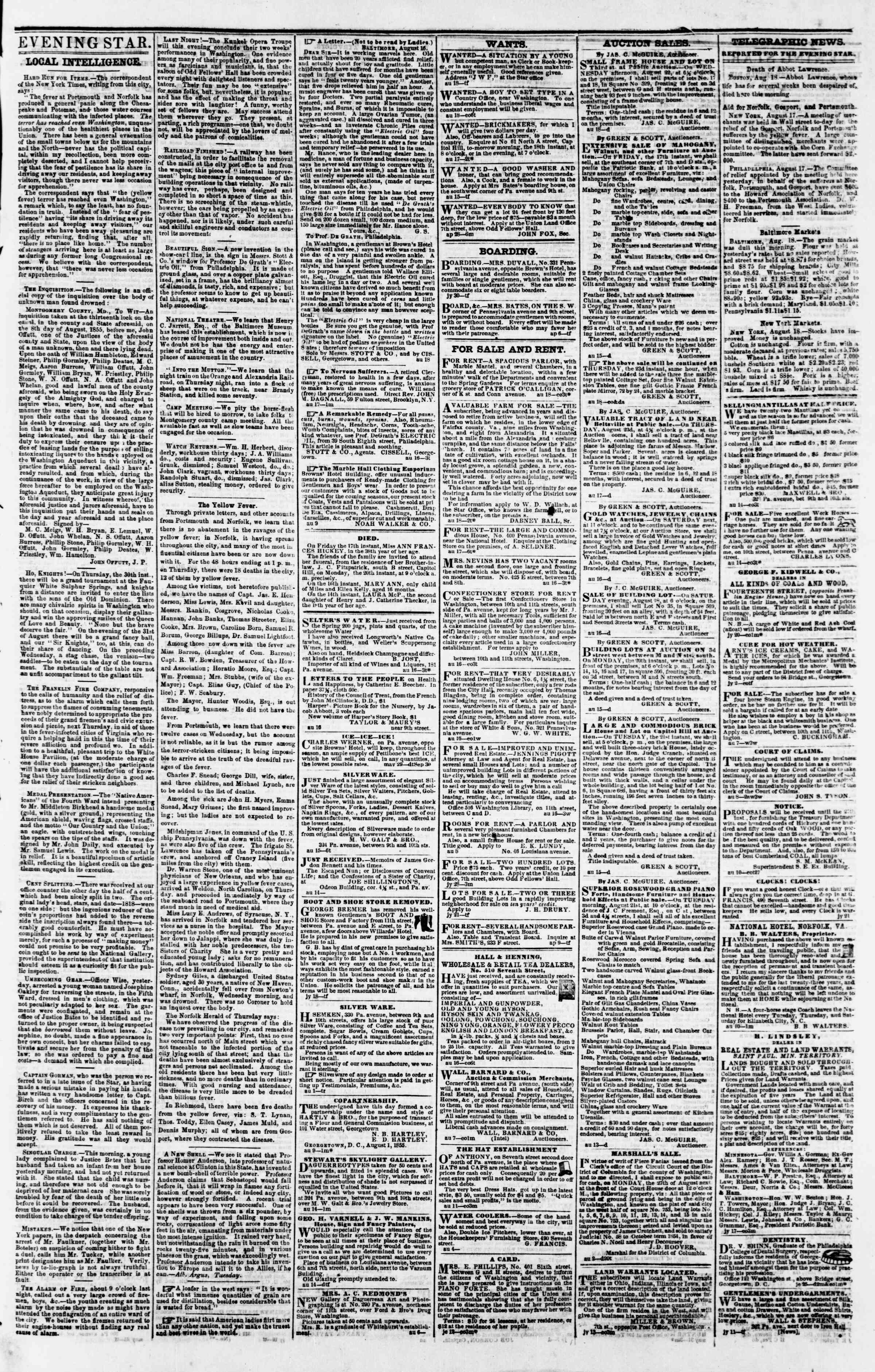 Newspaper of Evening Star dated August 18, 1855 Page 3