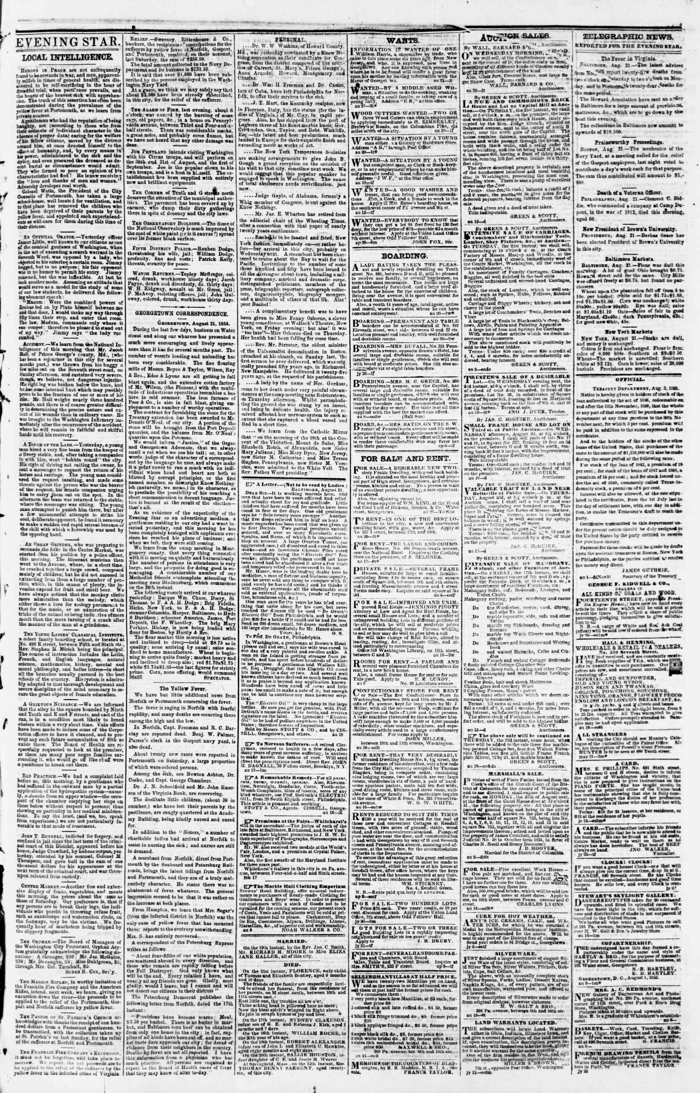 Newspaper of Evening Star dated August 21, 1855 Page 3