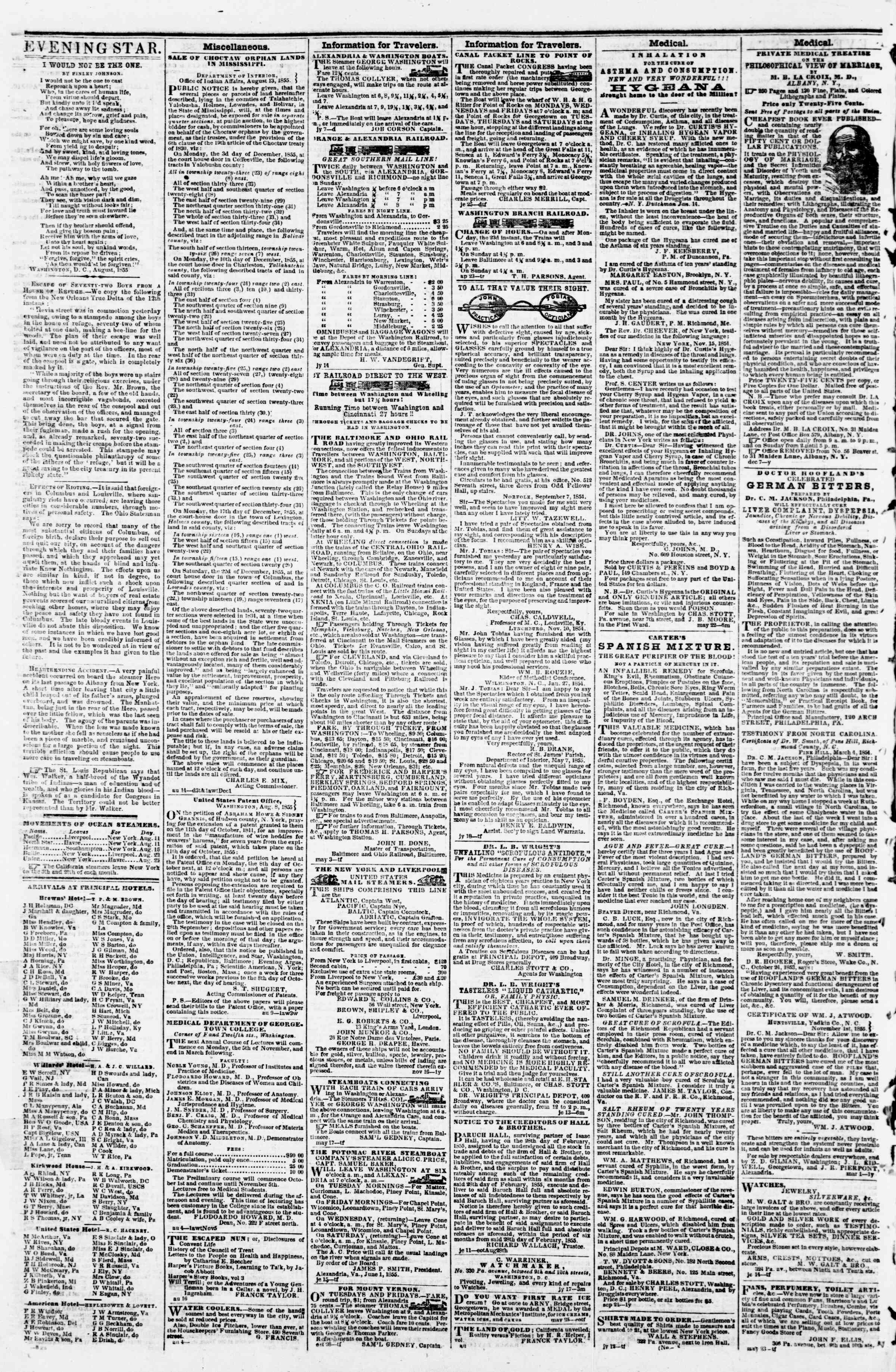 Newspaper of Evening Star dated August 22, 1855 Page 4