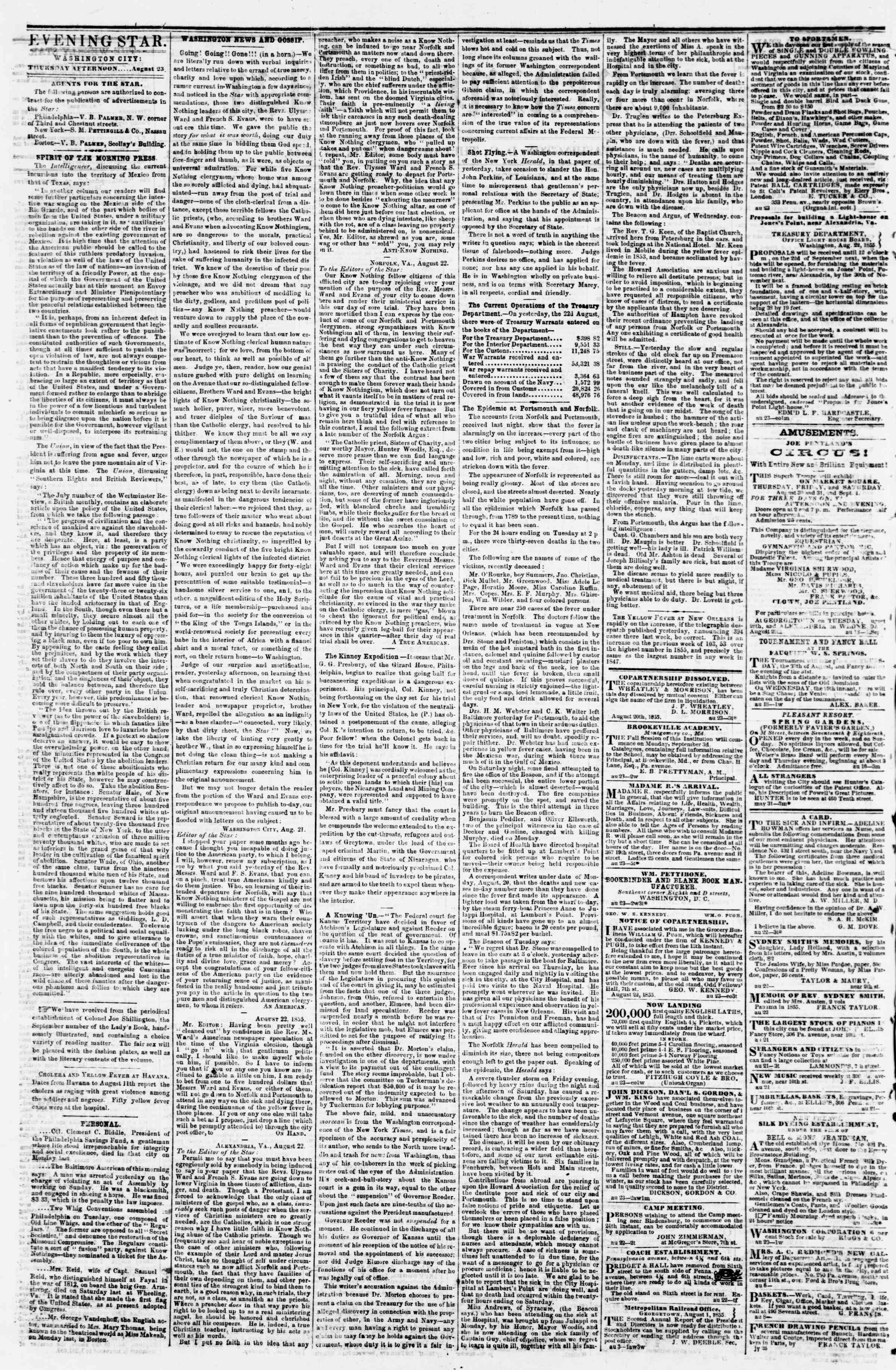 Newspaper of Evening Star dated August 23, 1855 Page 2