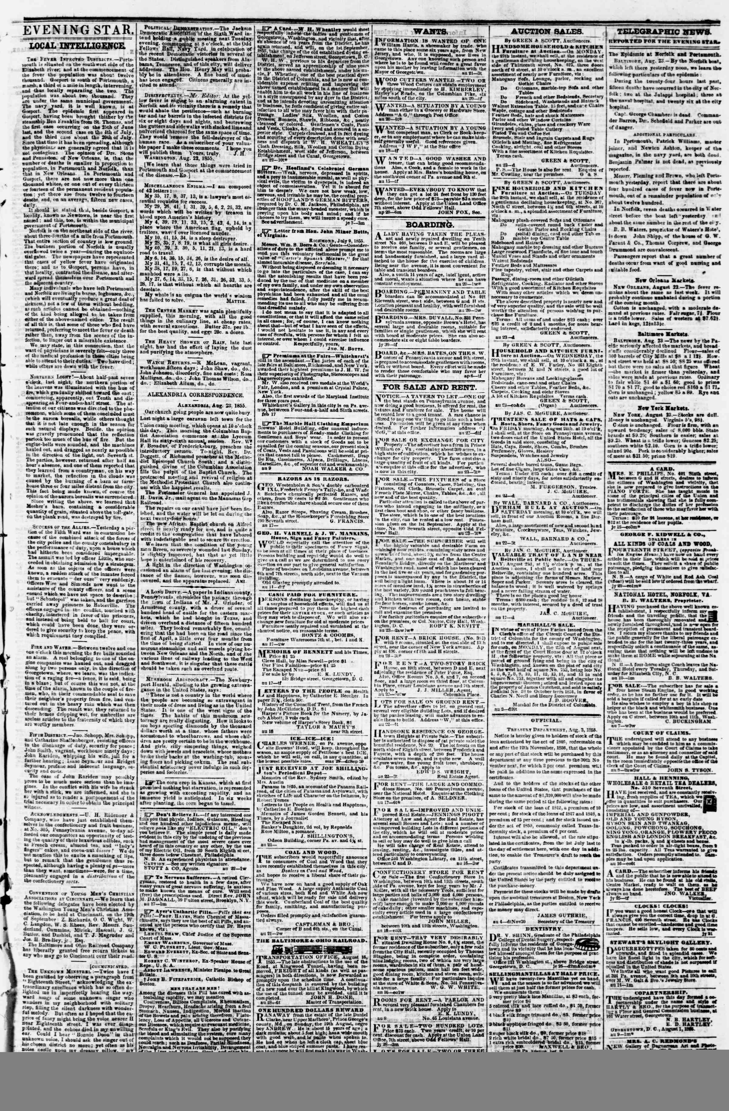 Newspaper of Evening Star dated August 23, 1855 Page 3