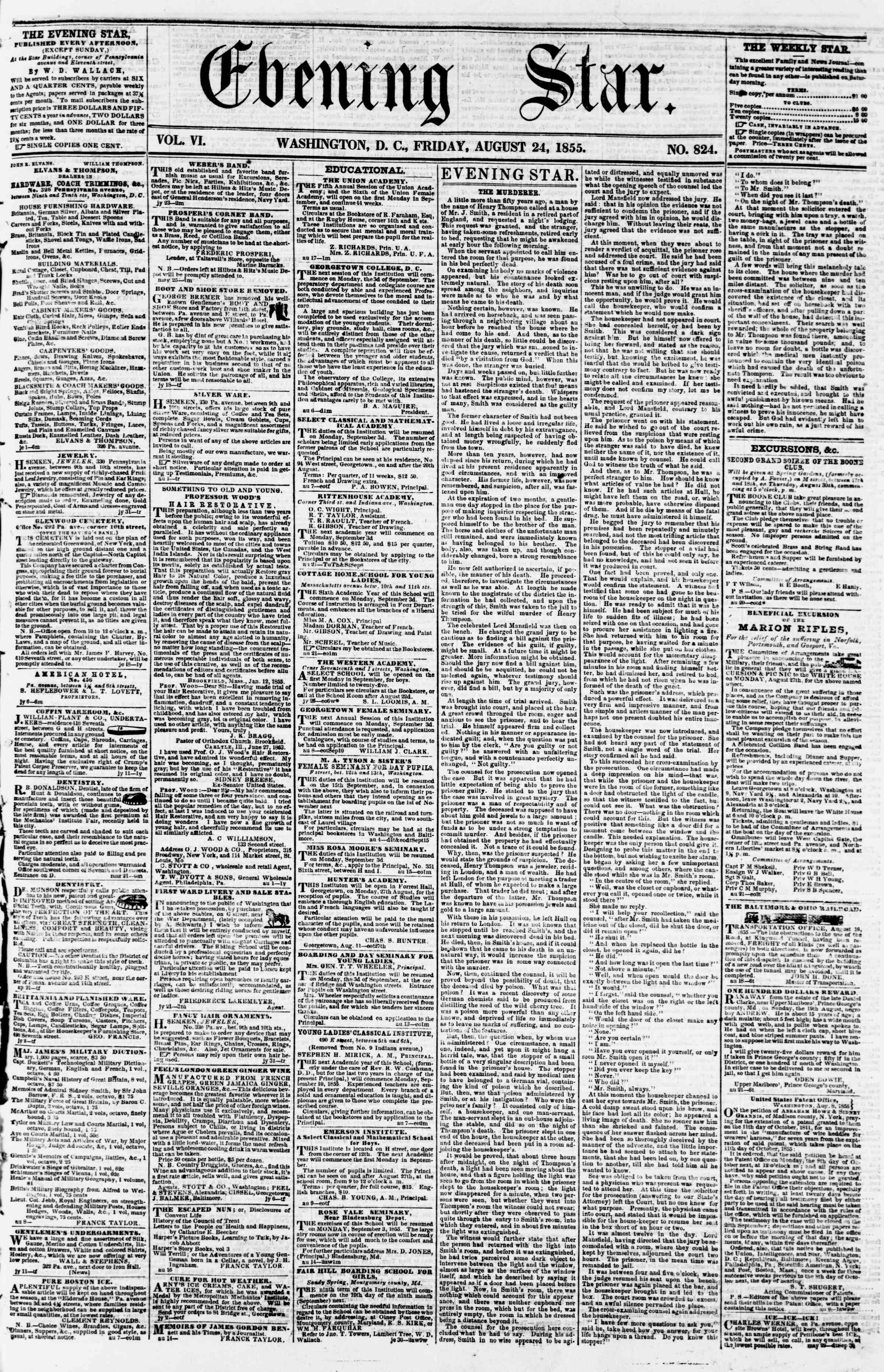 Newspaper of Evening Star dated August 24, 1855 Page 1