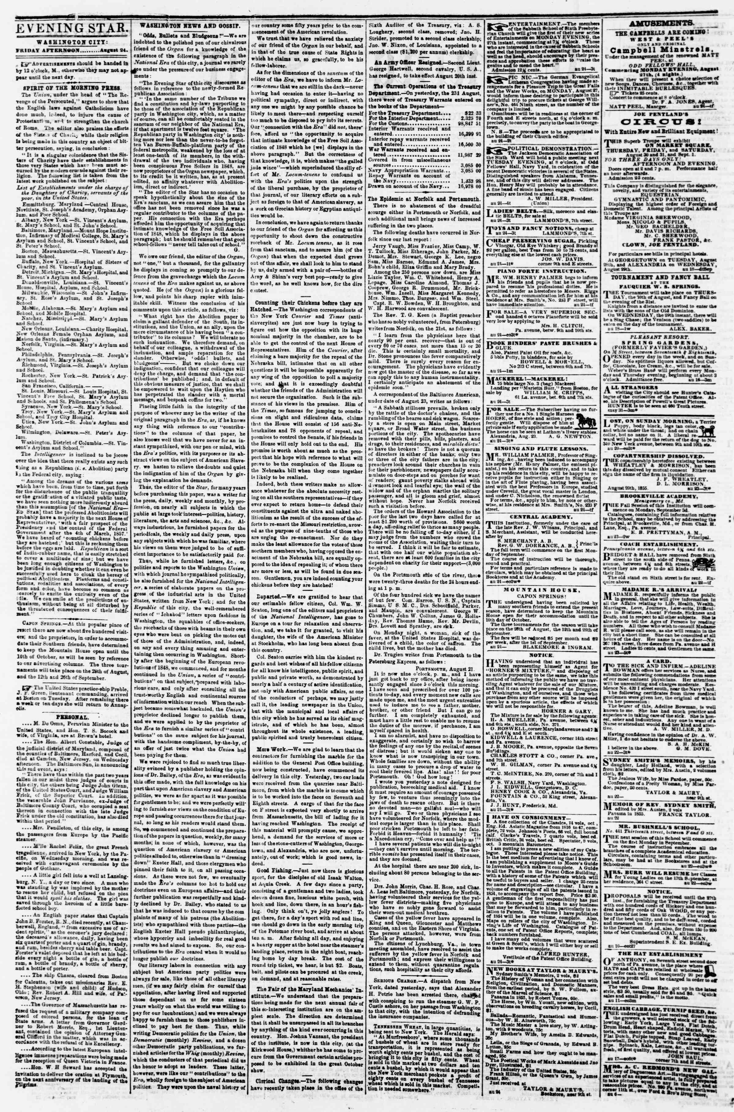 Newspaper of Evening Star dated August 24, 1855 Page 2