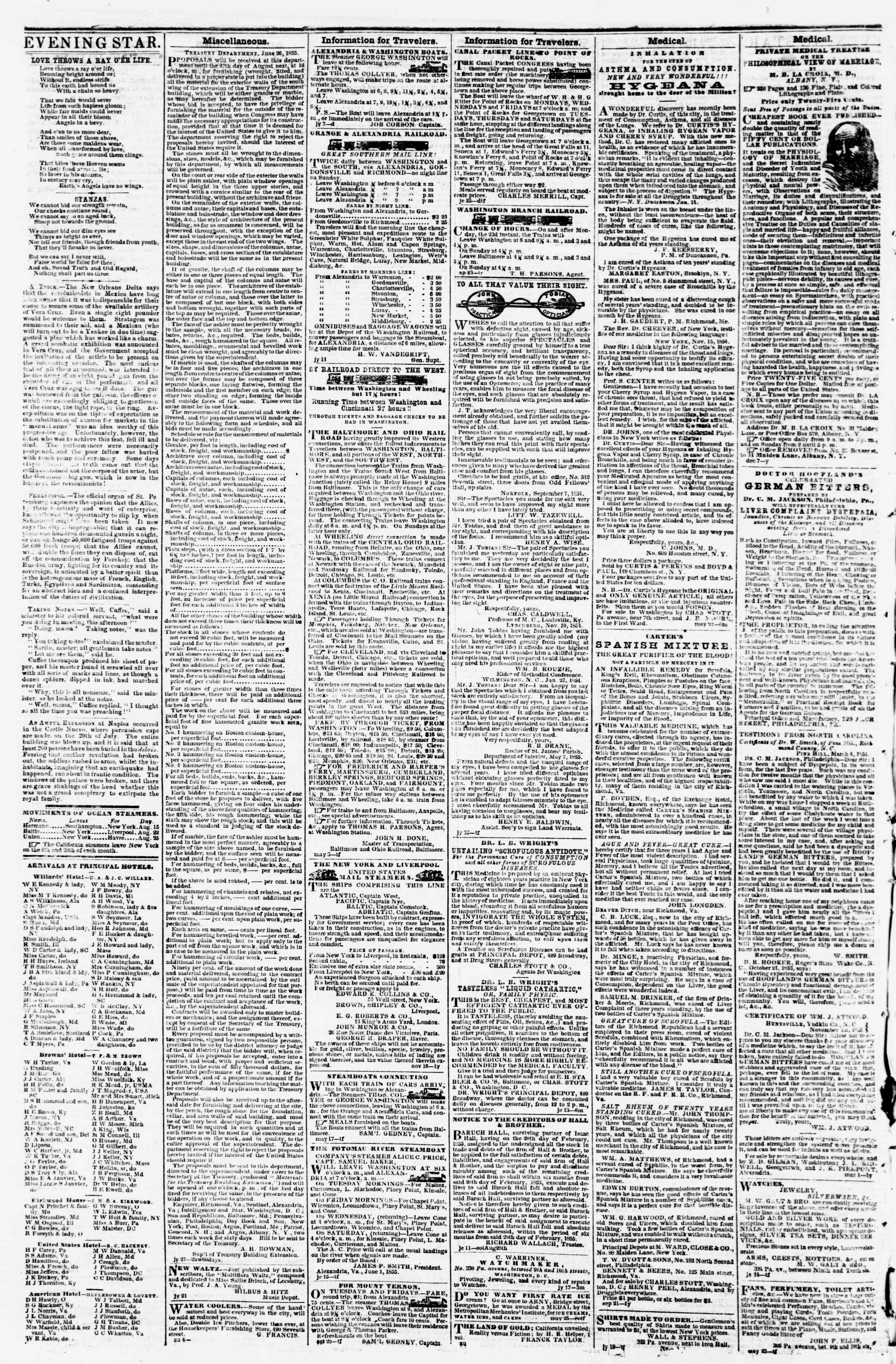 Newspaper of Evening Star dated August 25, 1855 Page 4