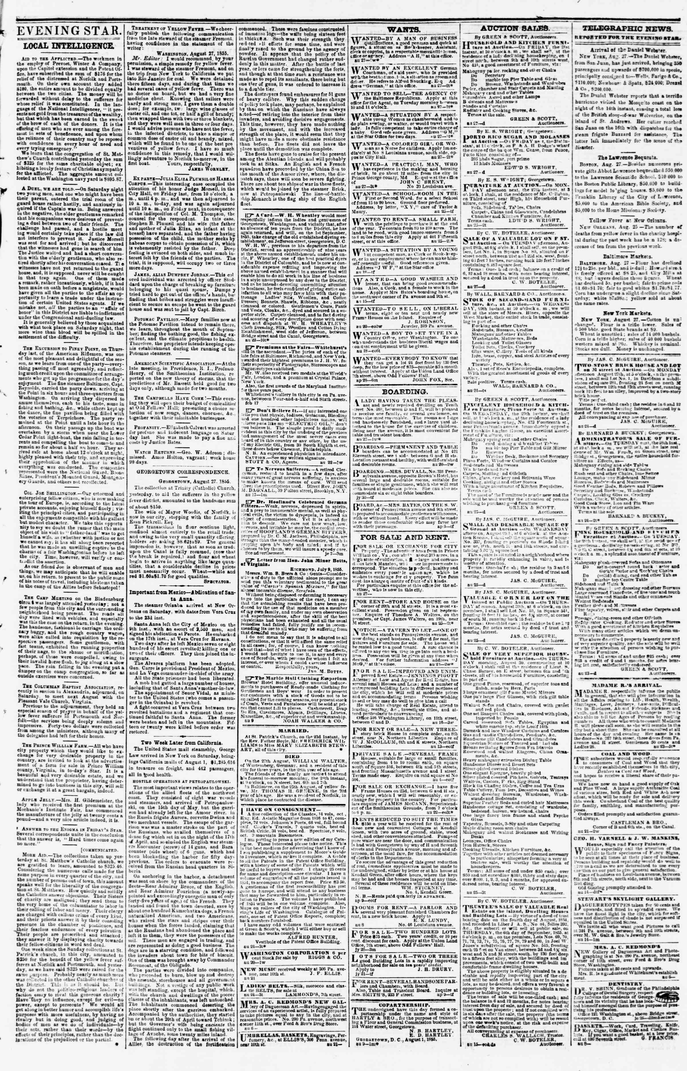 Newspaper of Evening Star dated August 27, 1855 Page 3