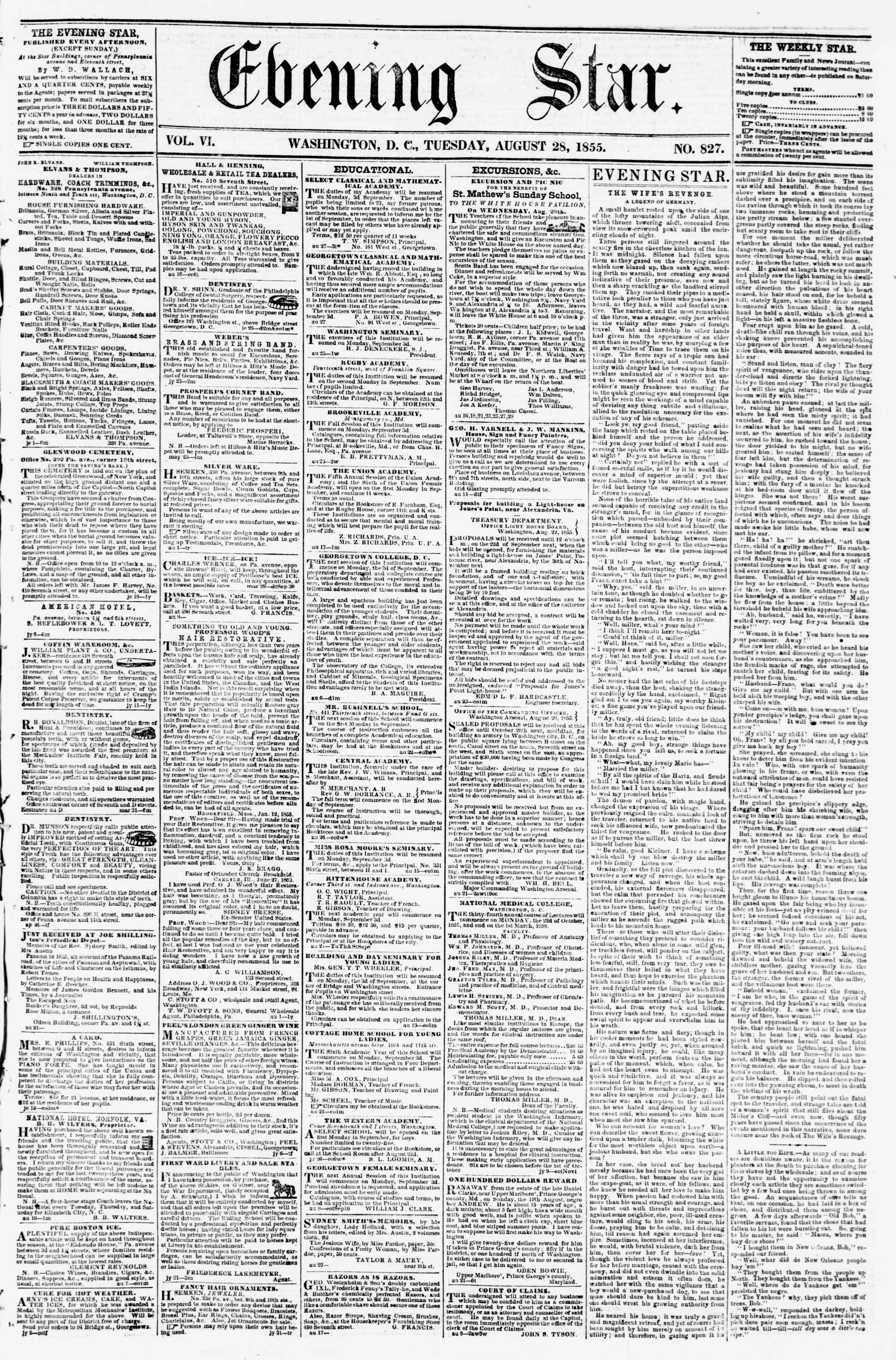 Newspaper of Evening Star dated August 28, 1855 Page 1