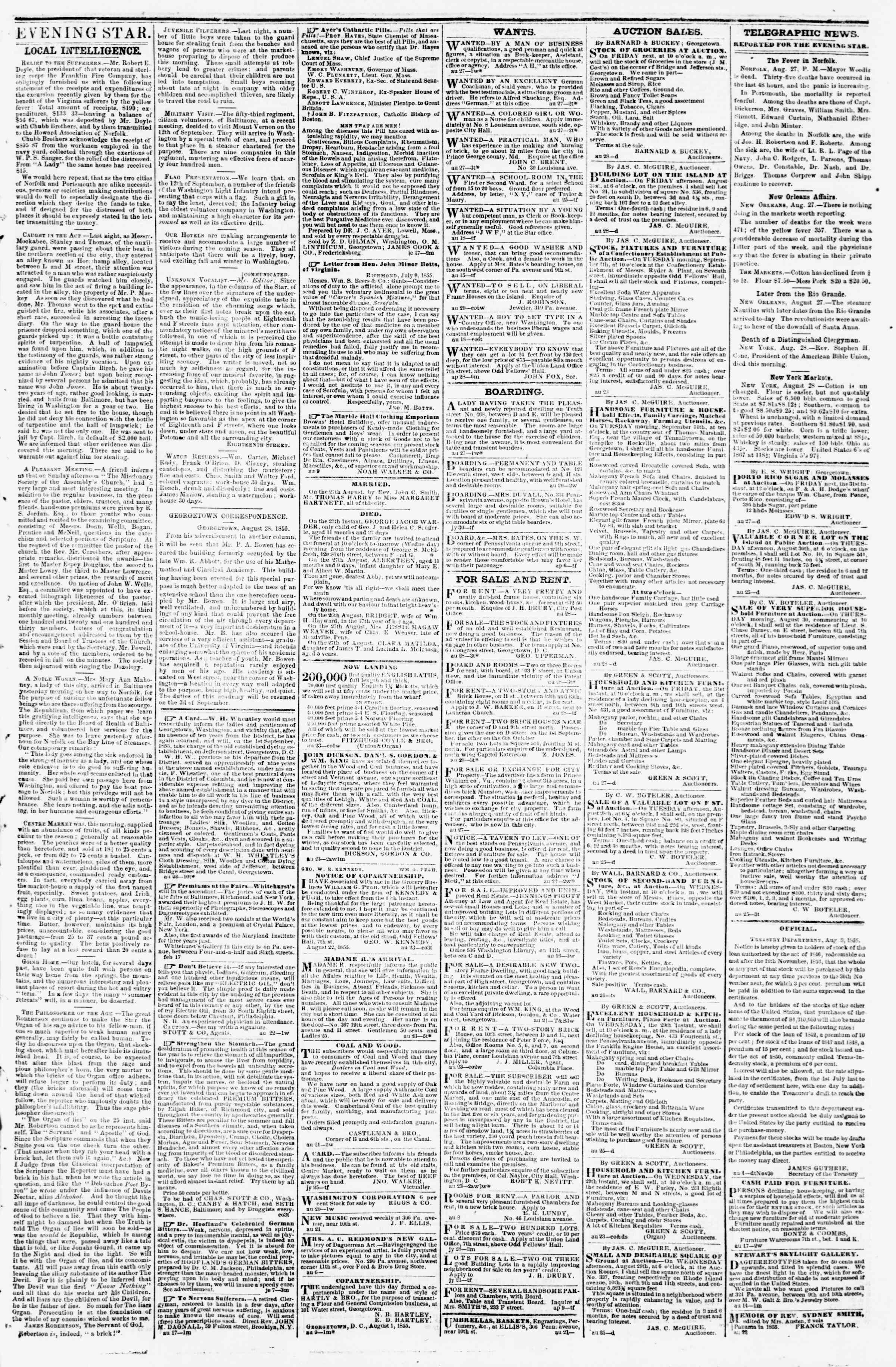 Newspaper of Evening Star dated August 28, 1855 Page 3