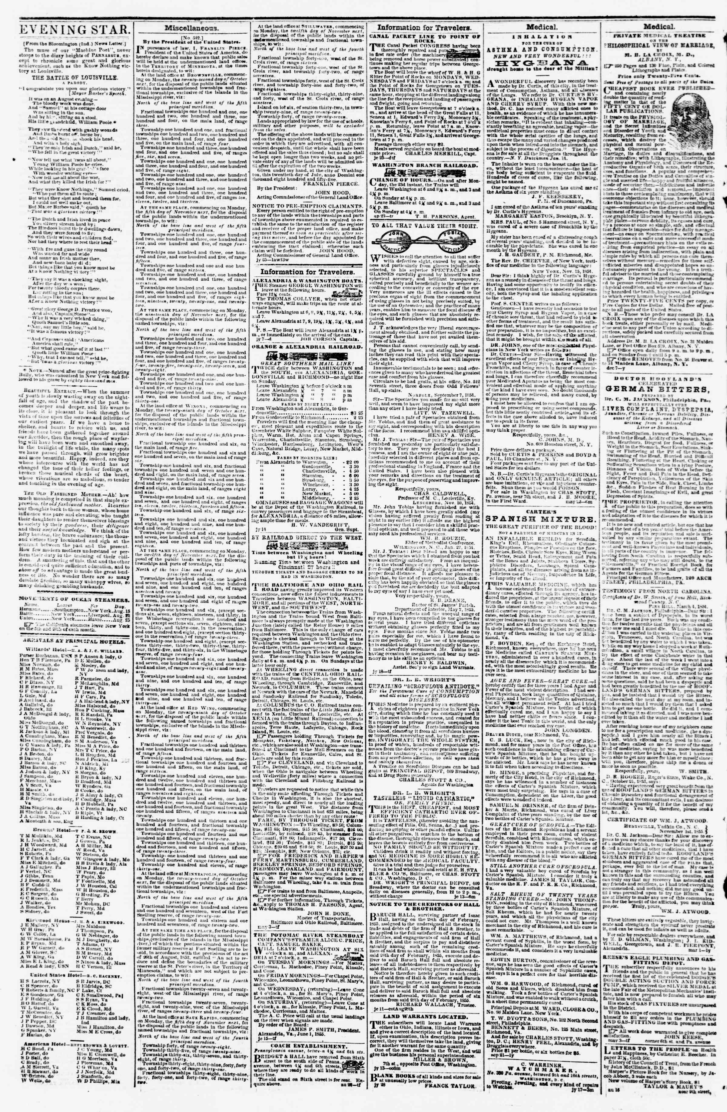 Newspaper of Evening Star dated August 28, 1855 Page 4