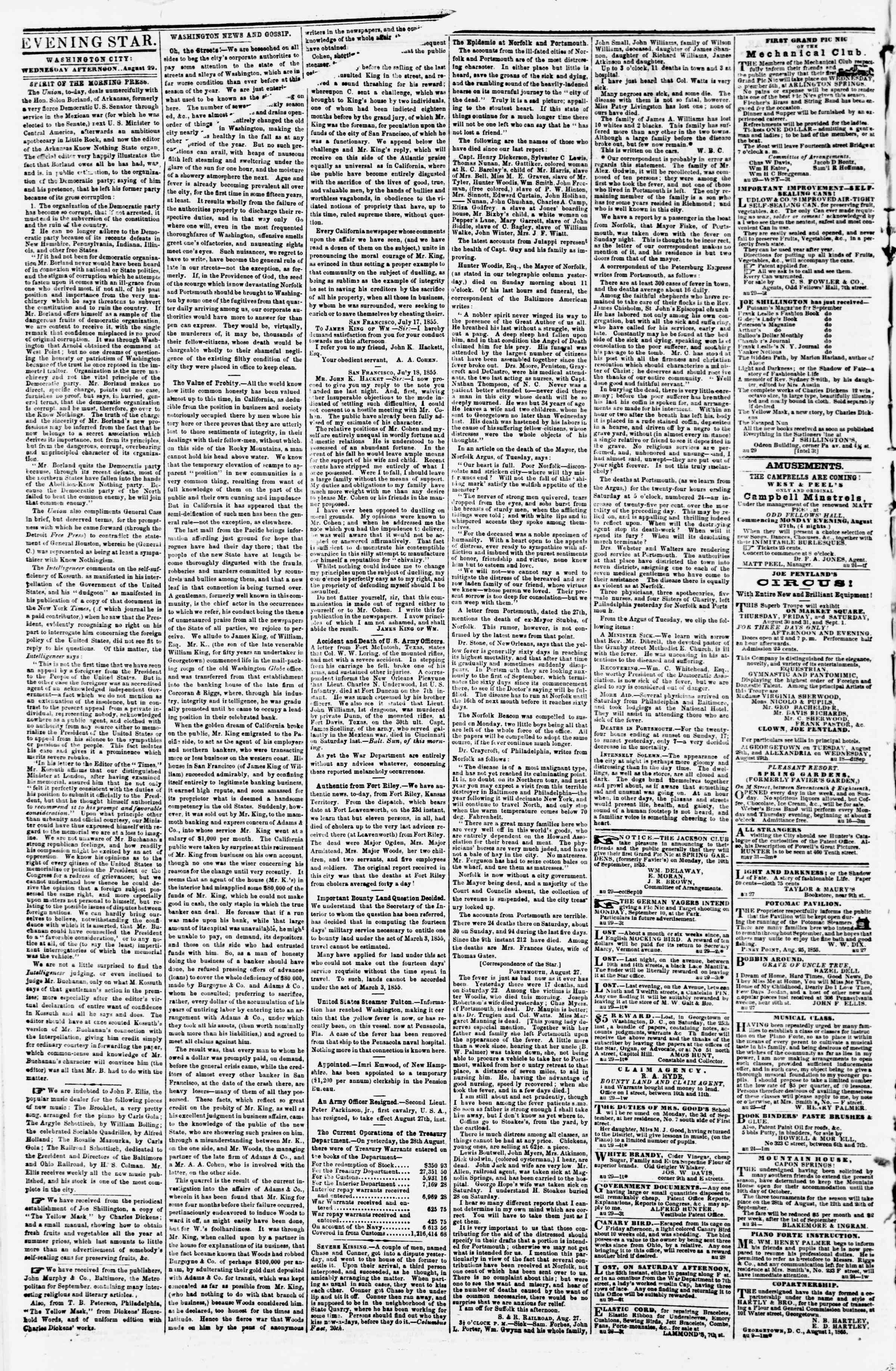 Newspaper of Evening Star dated August 29, 1855 Page 2