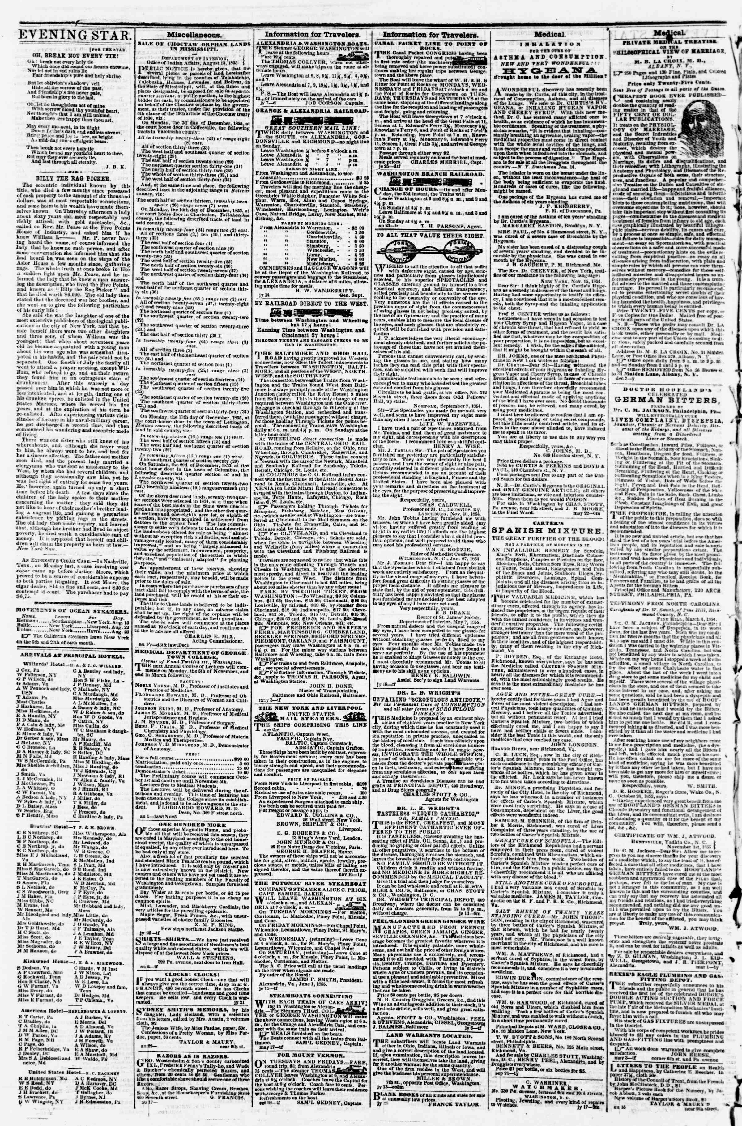 Newspaper of Evening Star dated August 29, 1855 Page 4